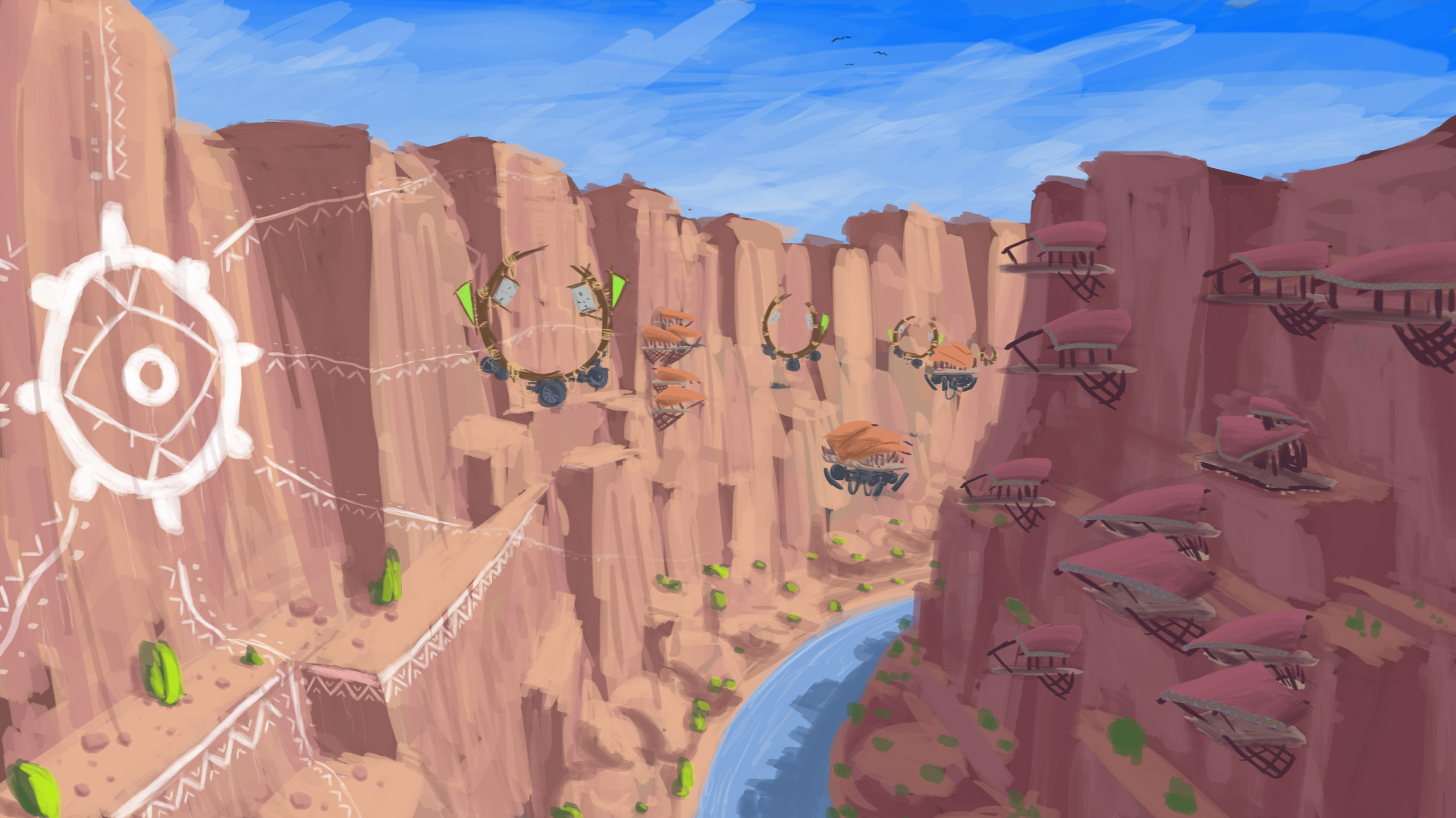 First iteration on rendered out image from the canyons and the placement of the murals