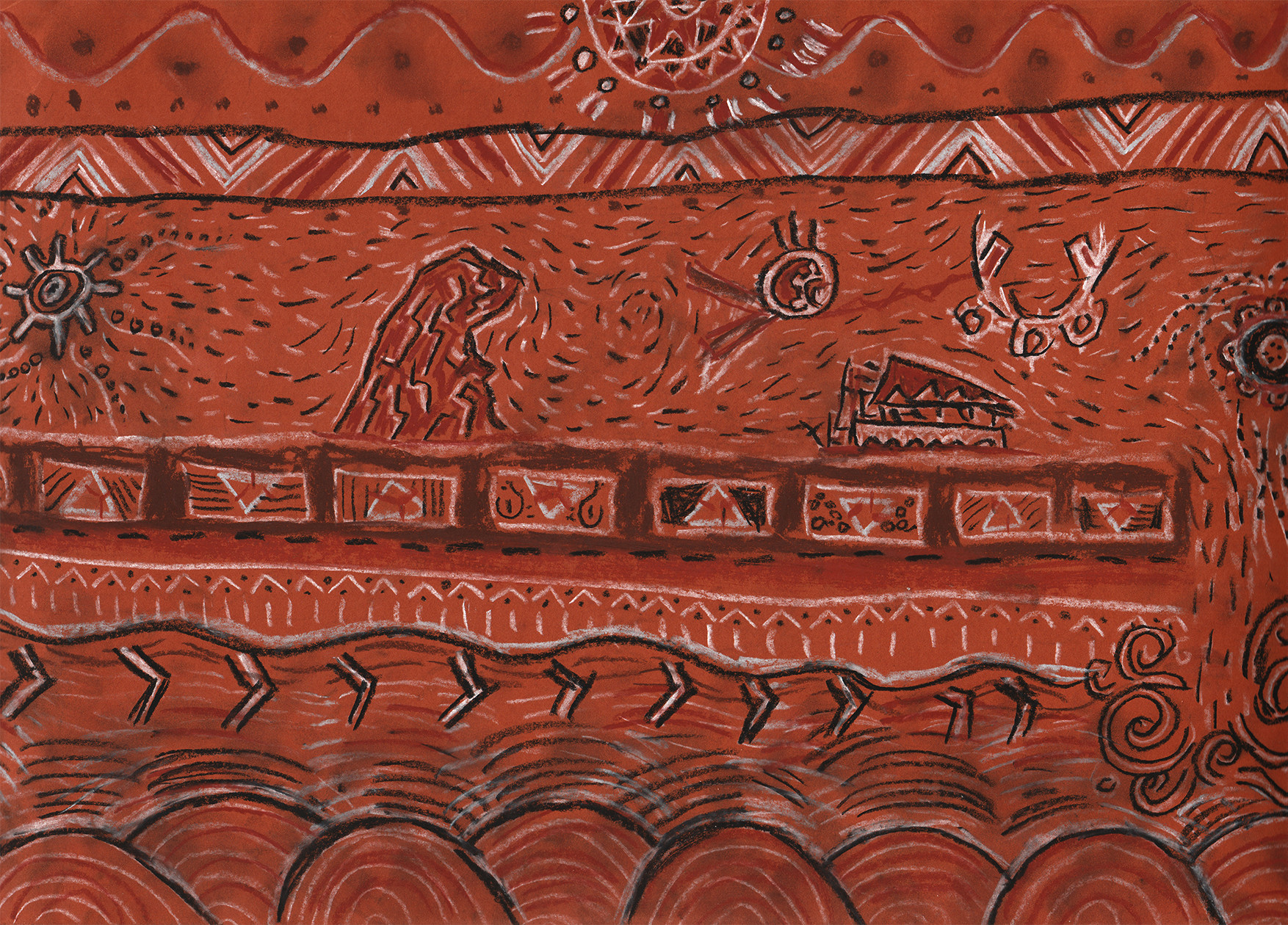 Final design of the murals drawn with crayons on brown thick paper