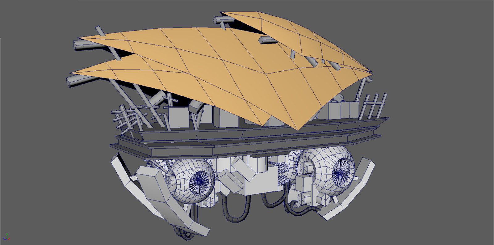 Wireframe 3D model of hovering cargo-vehicle