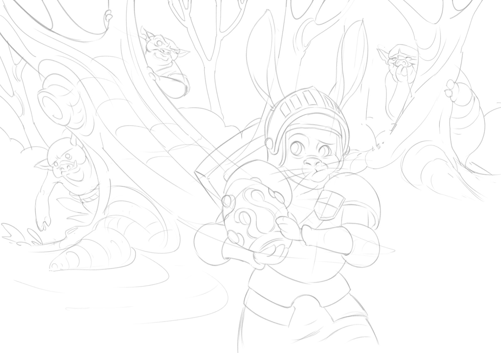 In the first step I draw a clean line drawing on top of the sketch. Having a good drawing to start from helps me a lot, especially for the workflow I've chosen for this painting.