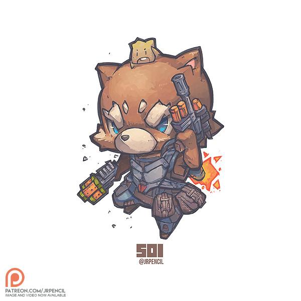 Artstation 501 Rocket Raccoon N Baby Groot Jr Pencil