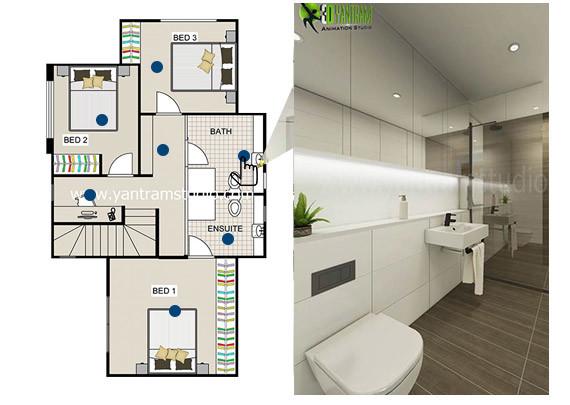 Artstation Innovative Bathroom 2d Section Plan Usa Yantram Architectural Design Studio
