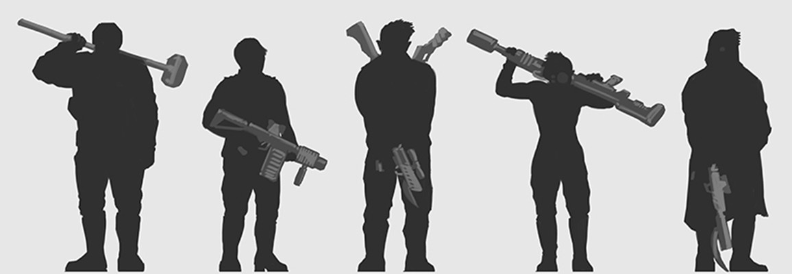 Yun nam characters heroes silhouette