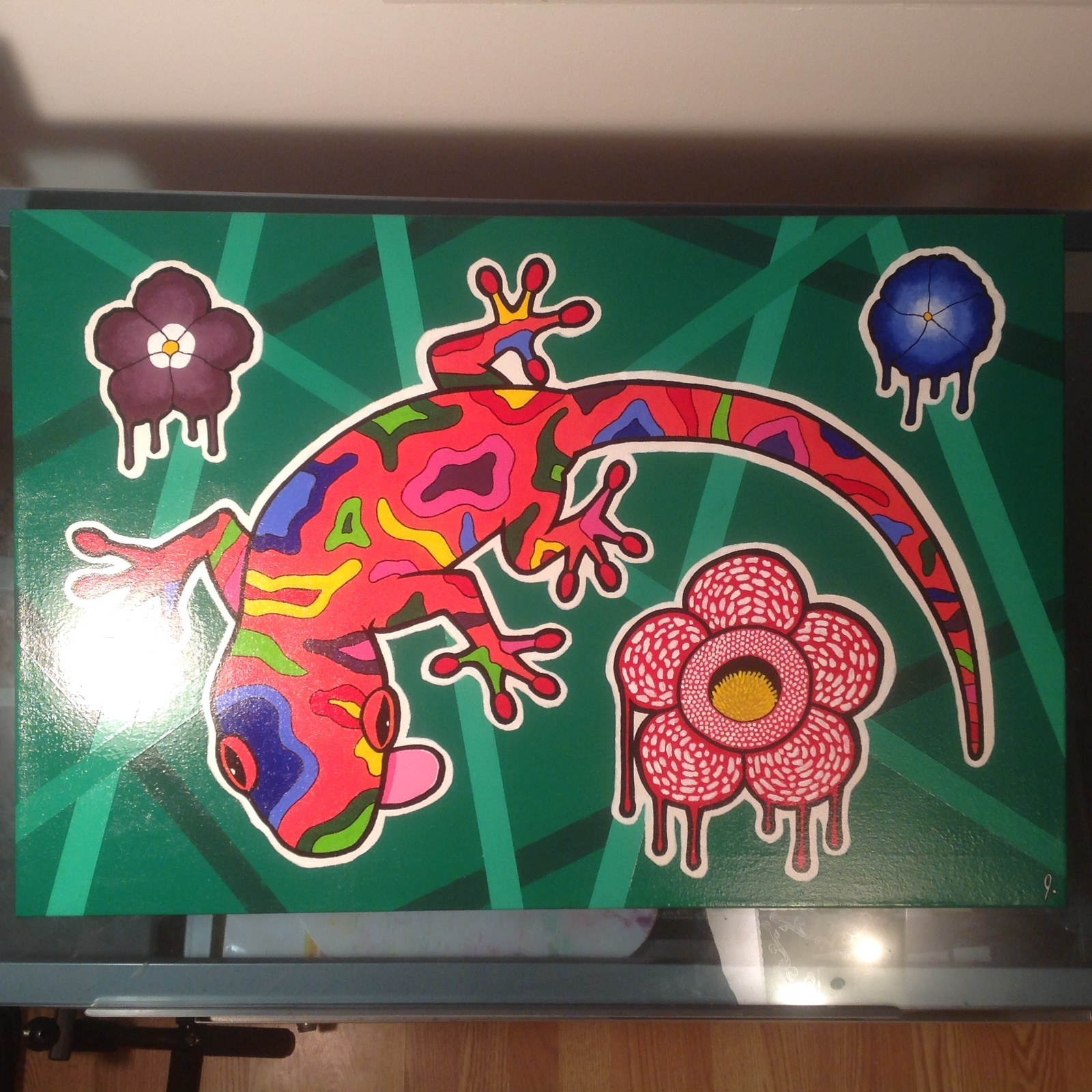 'Gecko In The Garden' 20 x 30 canvas Status: For Sale