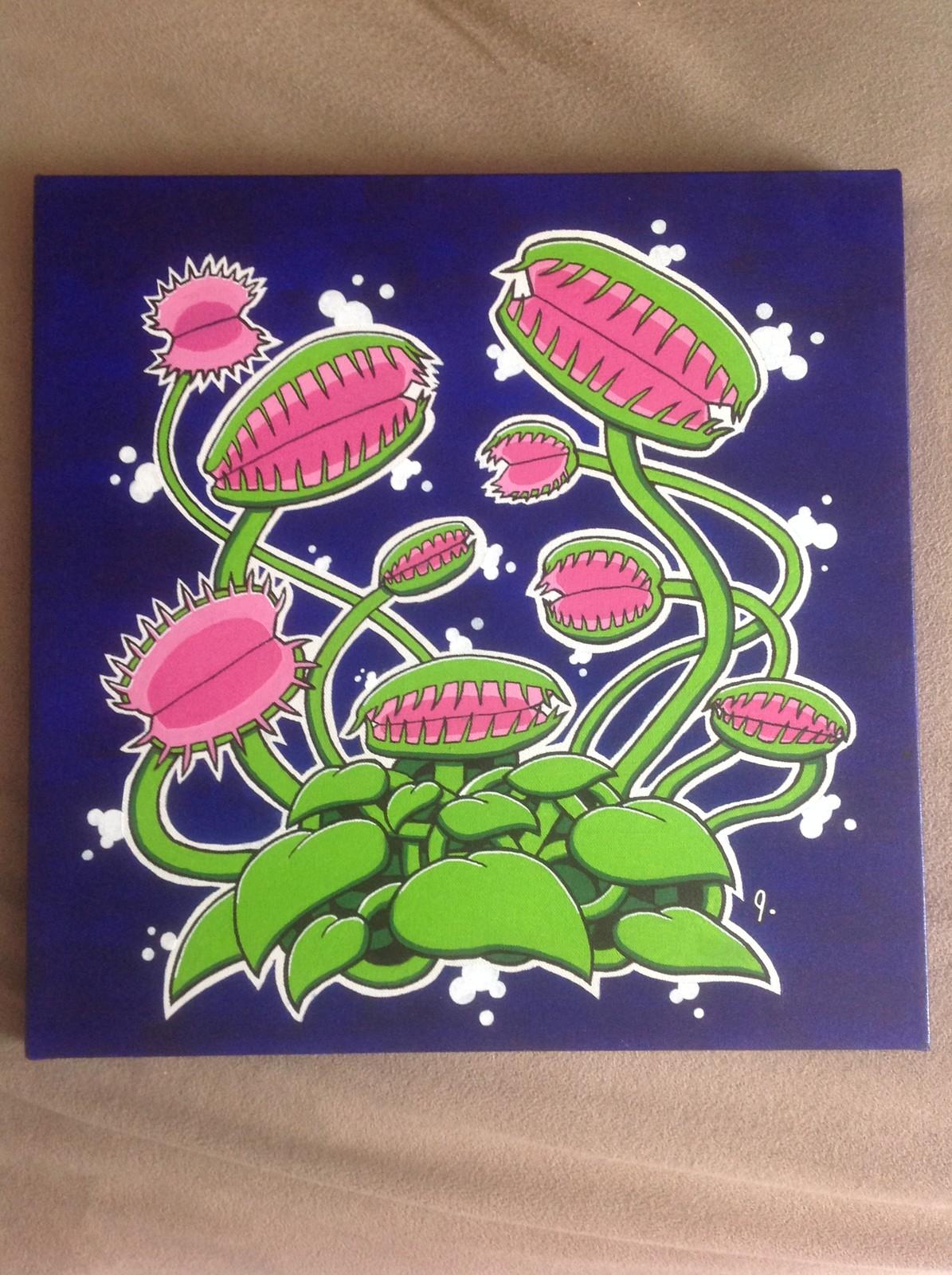 'Venus Fly Traps' 16x16 canvas Status: For Sale