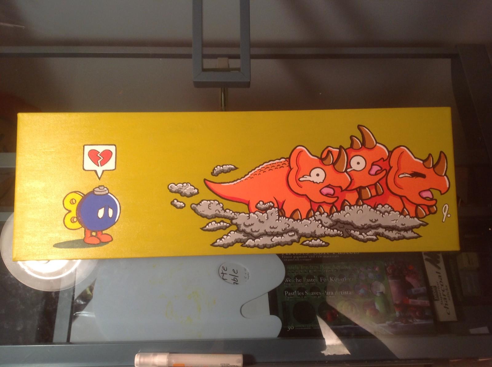 'Dodongos Dislike Smoke' 8 x 24 canvas Status: For Sale