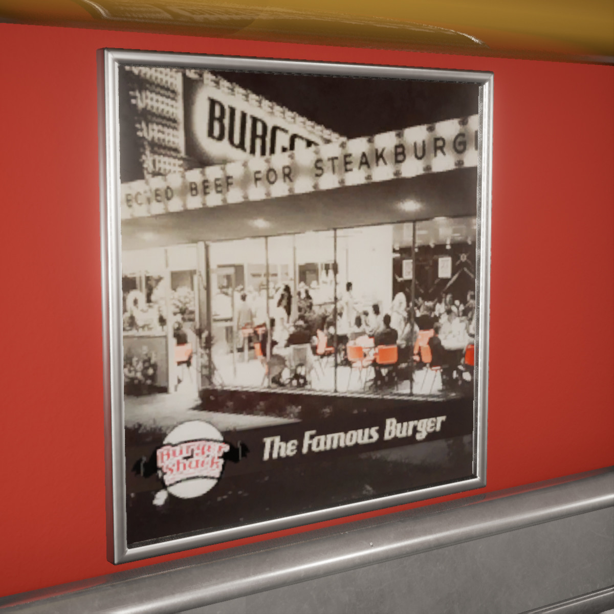 "Steak and Shake poster edited to fit the ""Burger Shack"" brand."