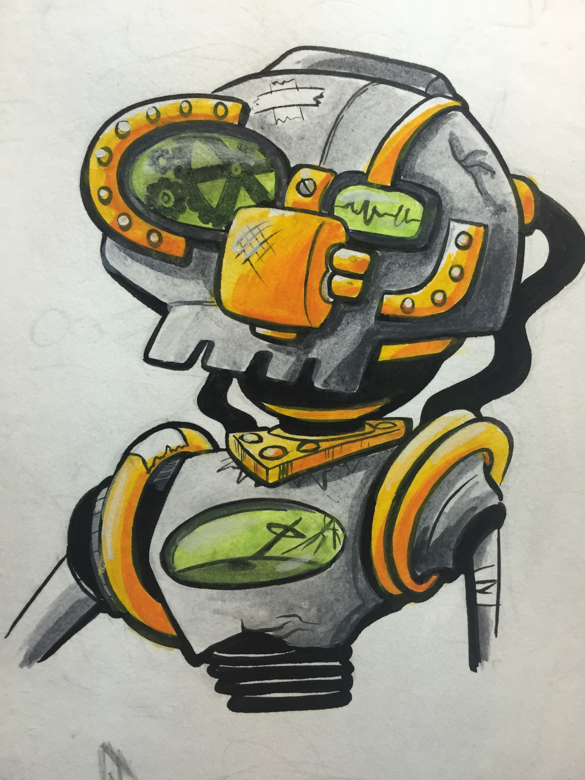 A busted robot bust.