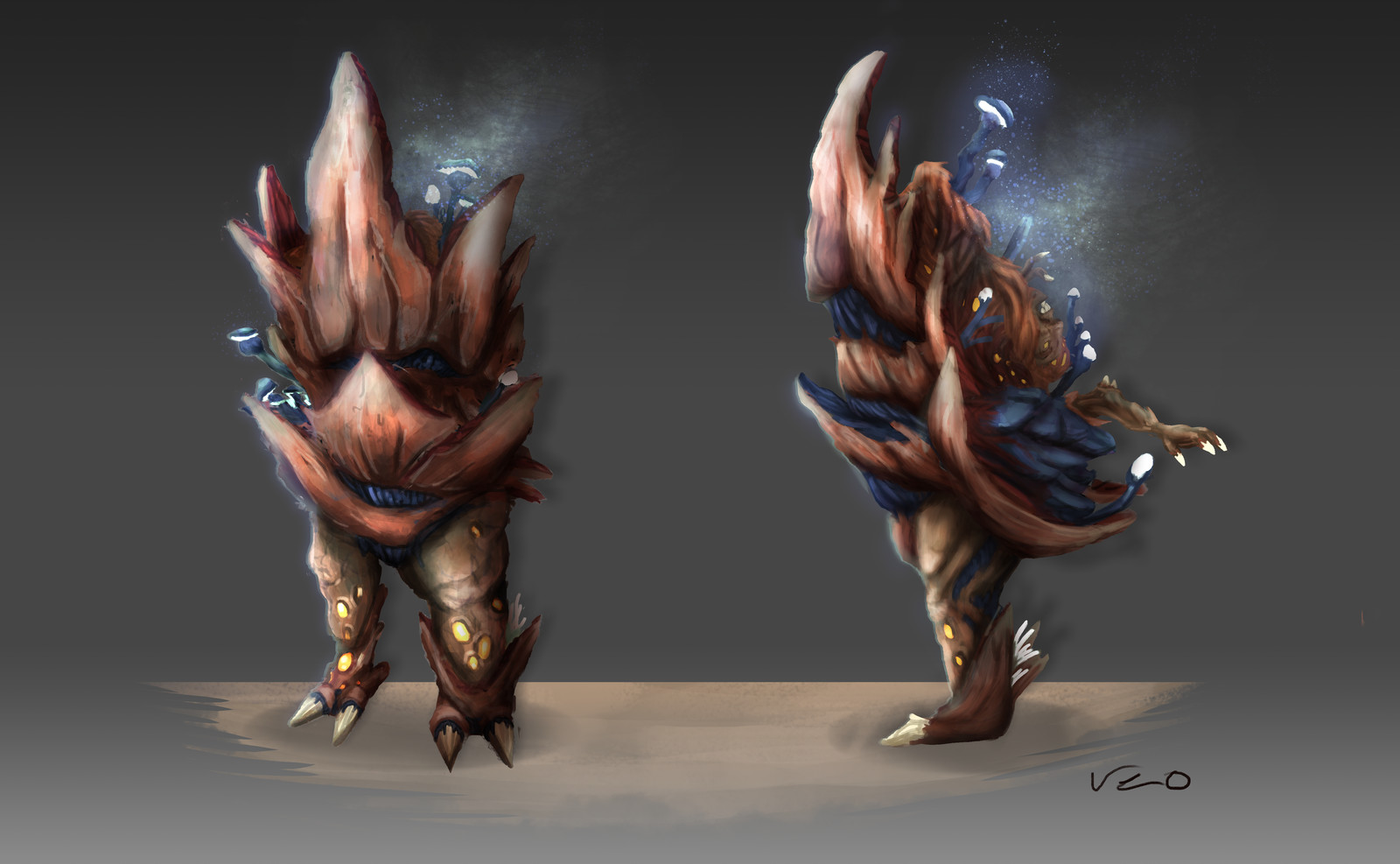 """Cultist monster 03 """"Rammer"""" Concept of the biggest and strongest monster in the game."""