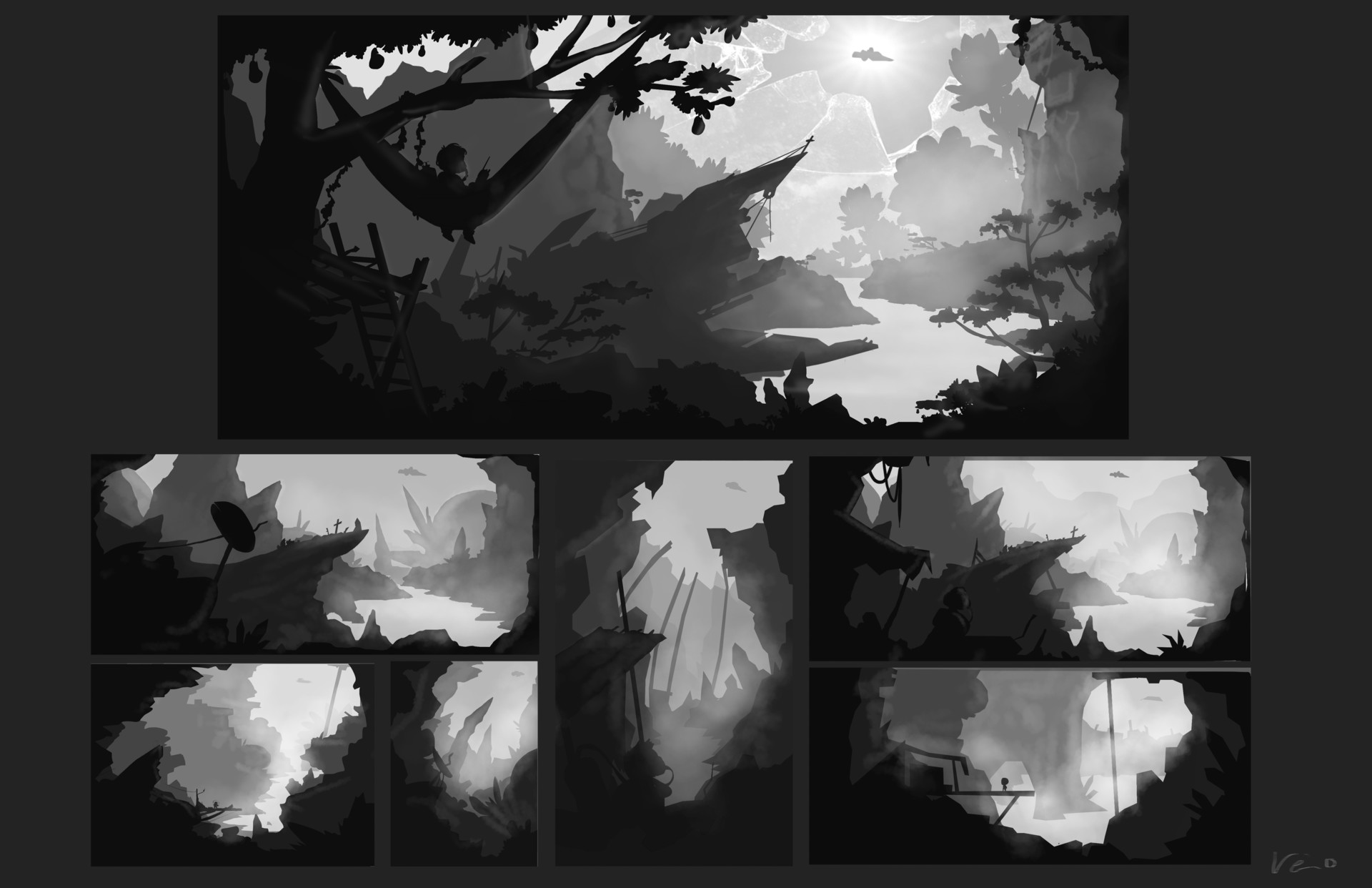 Exploration thumbnails for the illustration above.