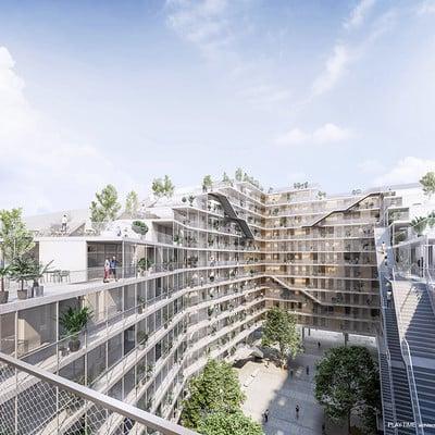 Play time architectonic image estudio vivas arquitectos pau vidal pont viviendes placa de les glories barcelona 01