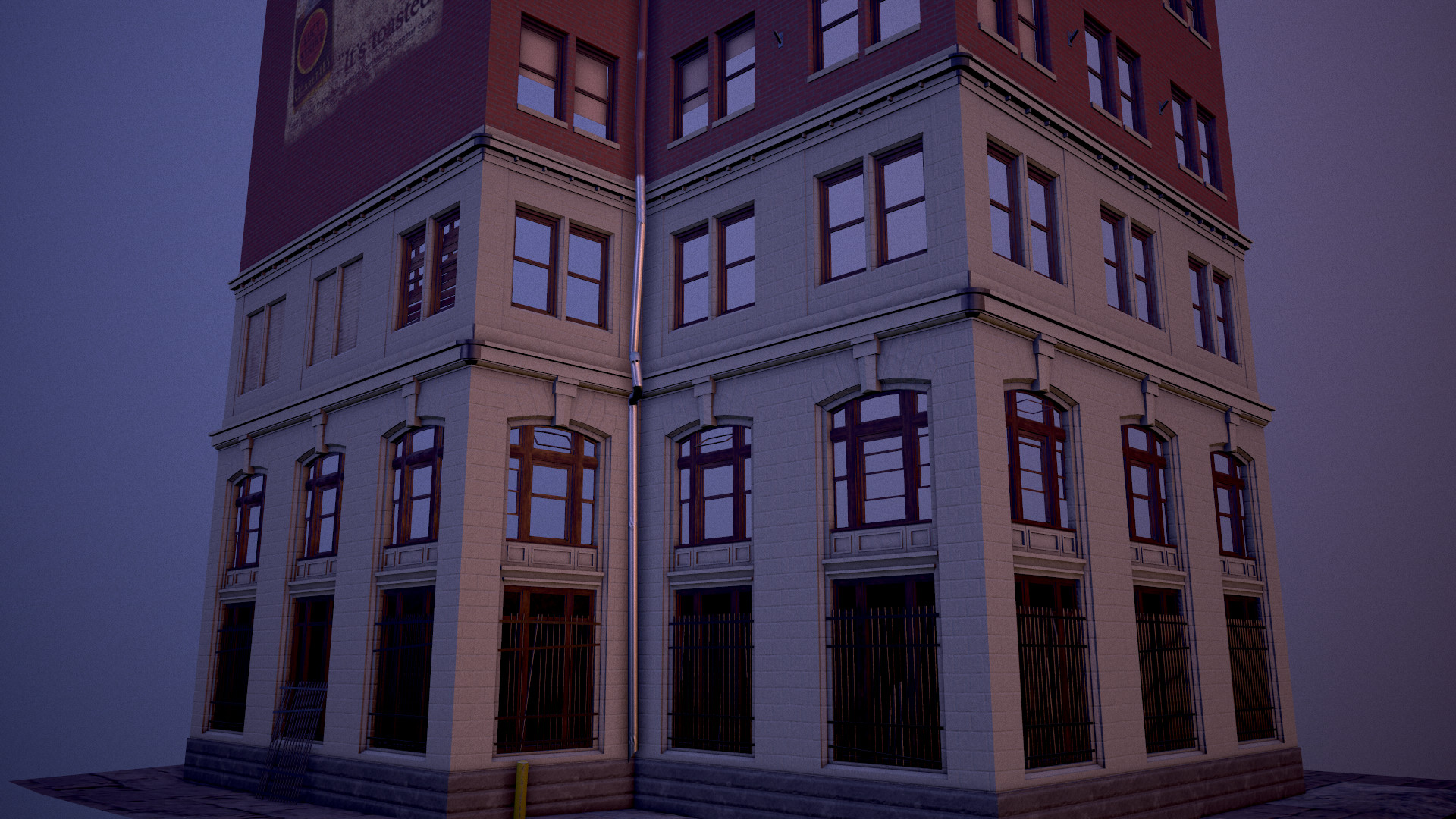 Street-view of the building, rendered in Marmoset Toolbag