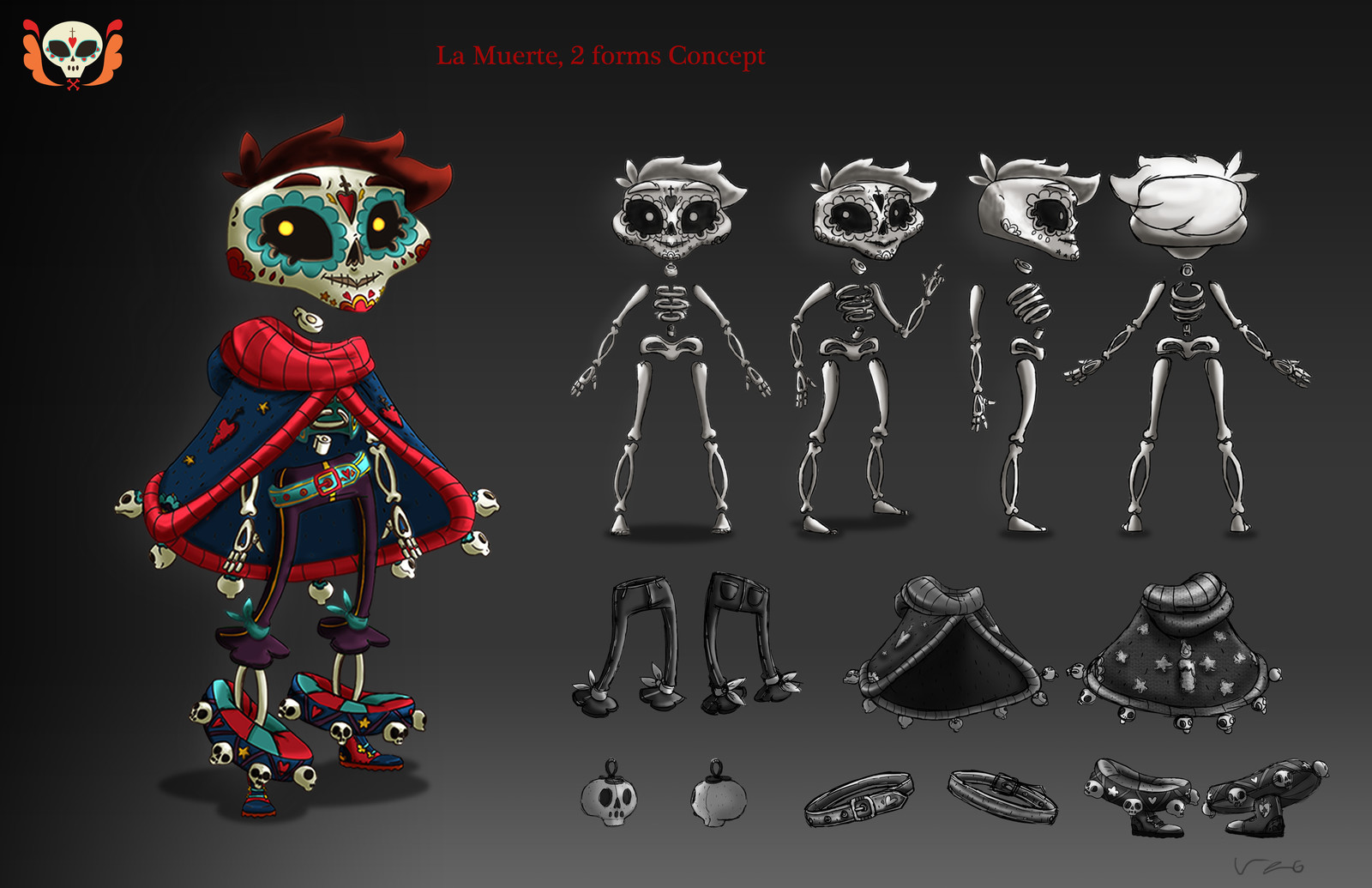 Liz the Undeath. Character Design made for Skull & Toon, the first game prototype we had to do at my university. Liz was the character of a puzzle side-scroller game. She had to throw her head in order to solve puzzles.