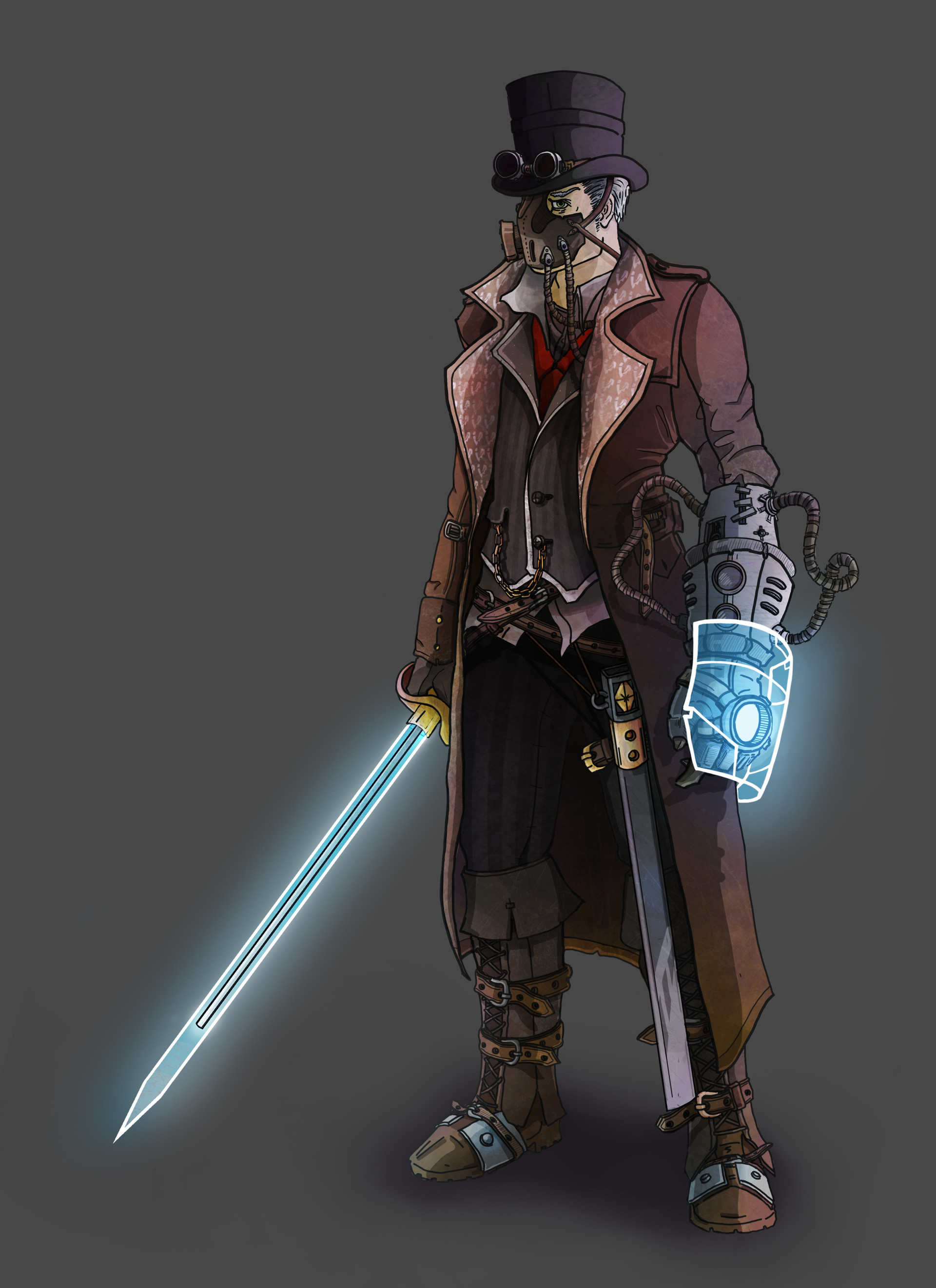 3d Character Design Course : Balint bartis steampunk character design with cyborg