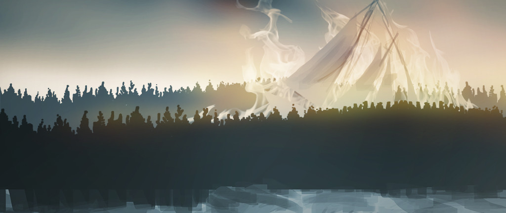 "Concept art for ""Rathowen Park"", featuring the ""Sky Sailor"" crashing into the forest. In this level, the player must help Brielle to muster up all her strength and rescue the Sailor from death!"
