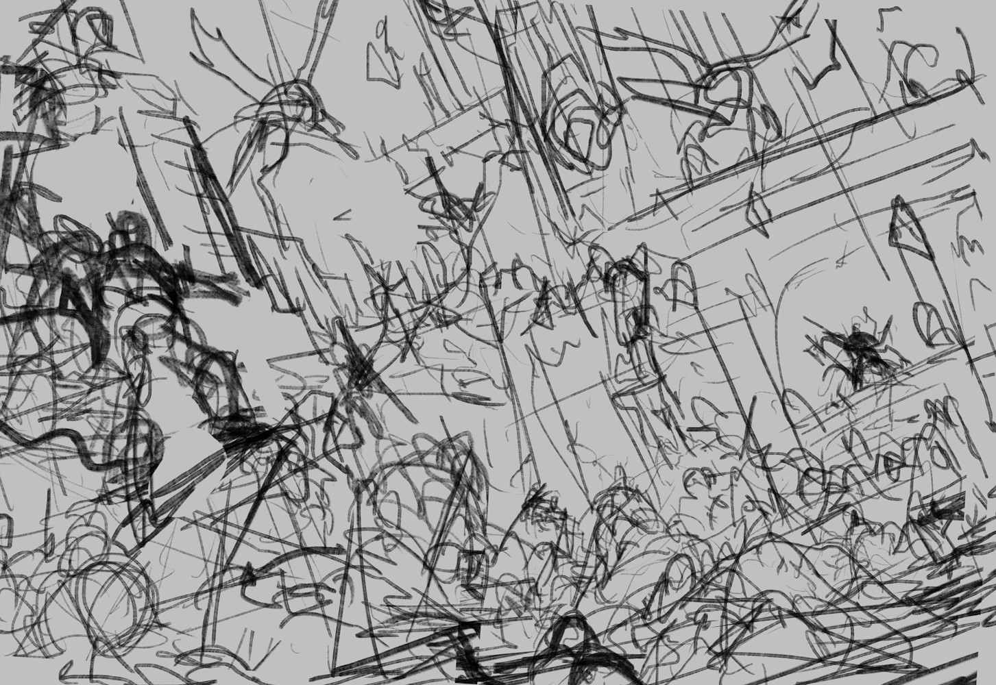 my process is never pretty...especially with battle scenes, 1st attempt on the comp idea i have, i always start with either scribbles, or just siluets, oh and i usually make sounds when im drawing like this