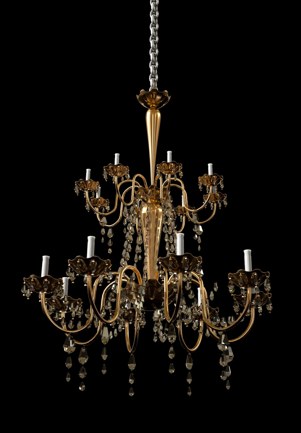 Chandelier made for this particular scene. This was mostly speed modeled so the details may be rough but were intended for a far away object.