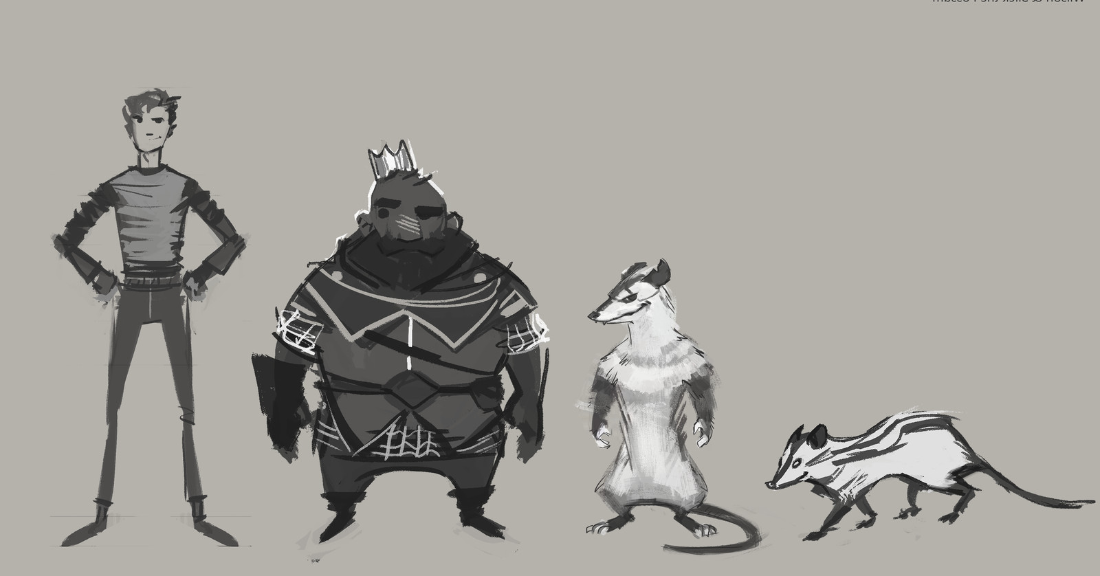 Main character (far left) Anthropomorphic version of the possum character with his four legged appearance. And a king guy!
