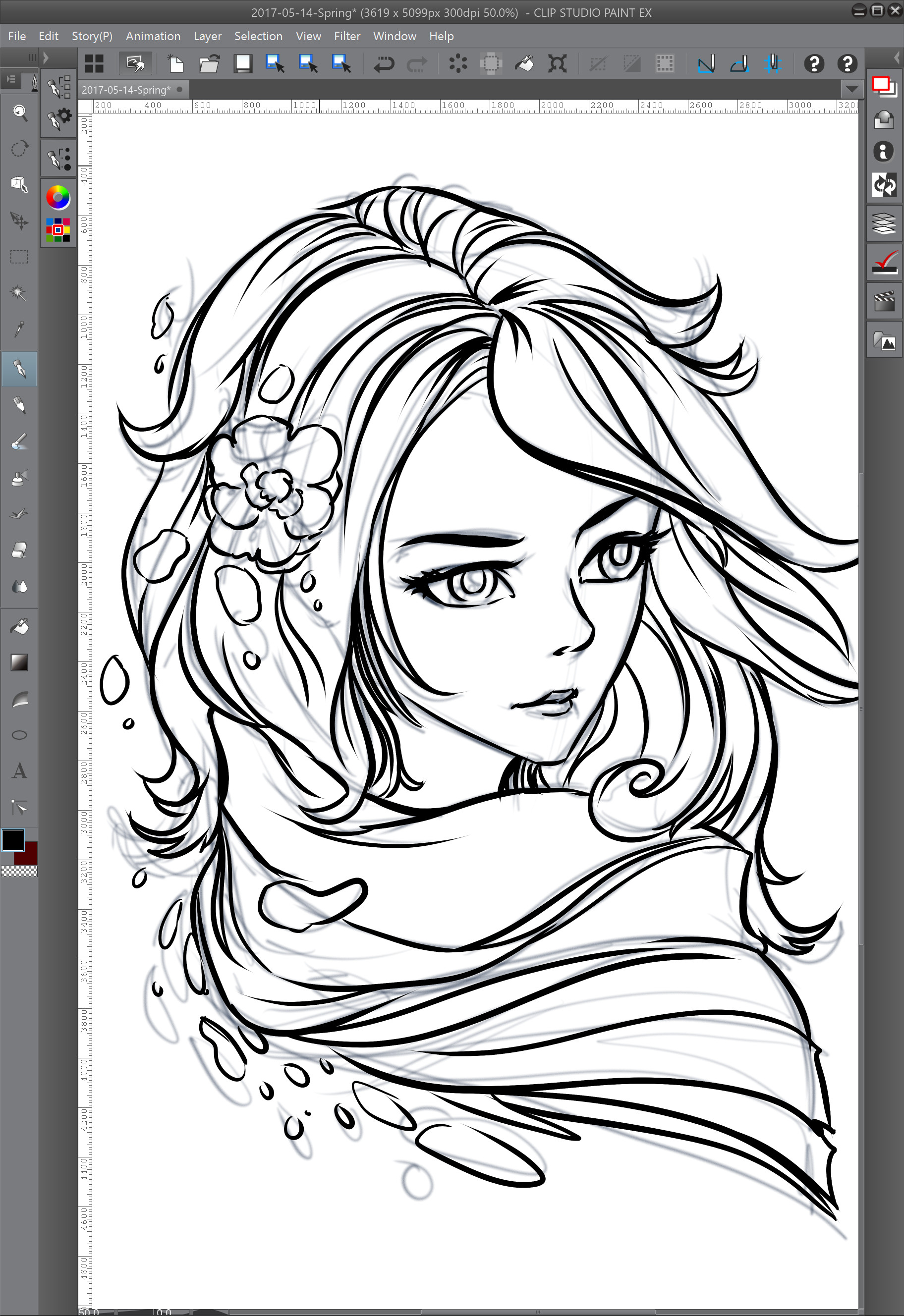 02 - Inking on a new layer