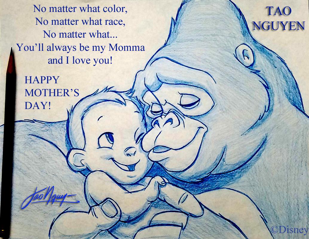 Tao nguyens mothers day tarzan sketch drawing
