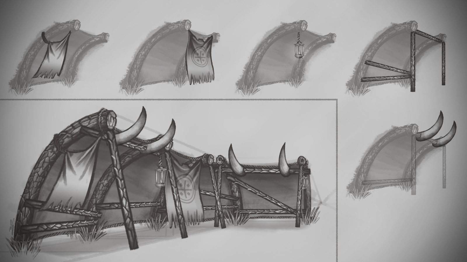 Concept drawings of modular pieces