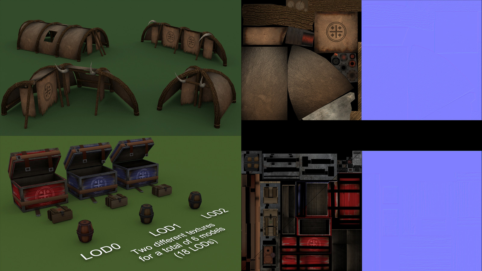 A few different hut layouts and model textures.