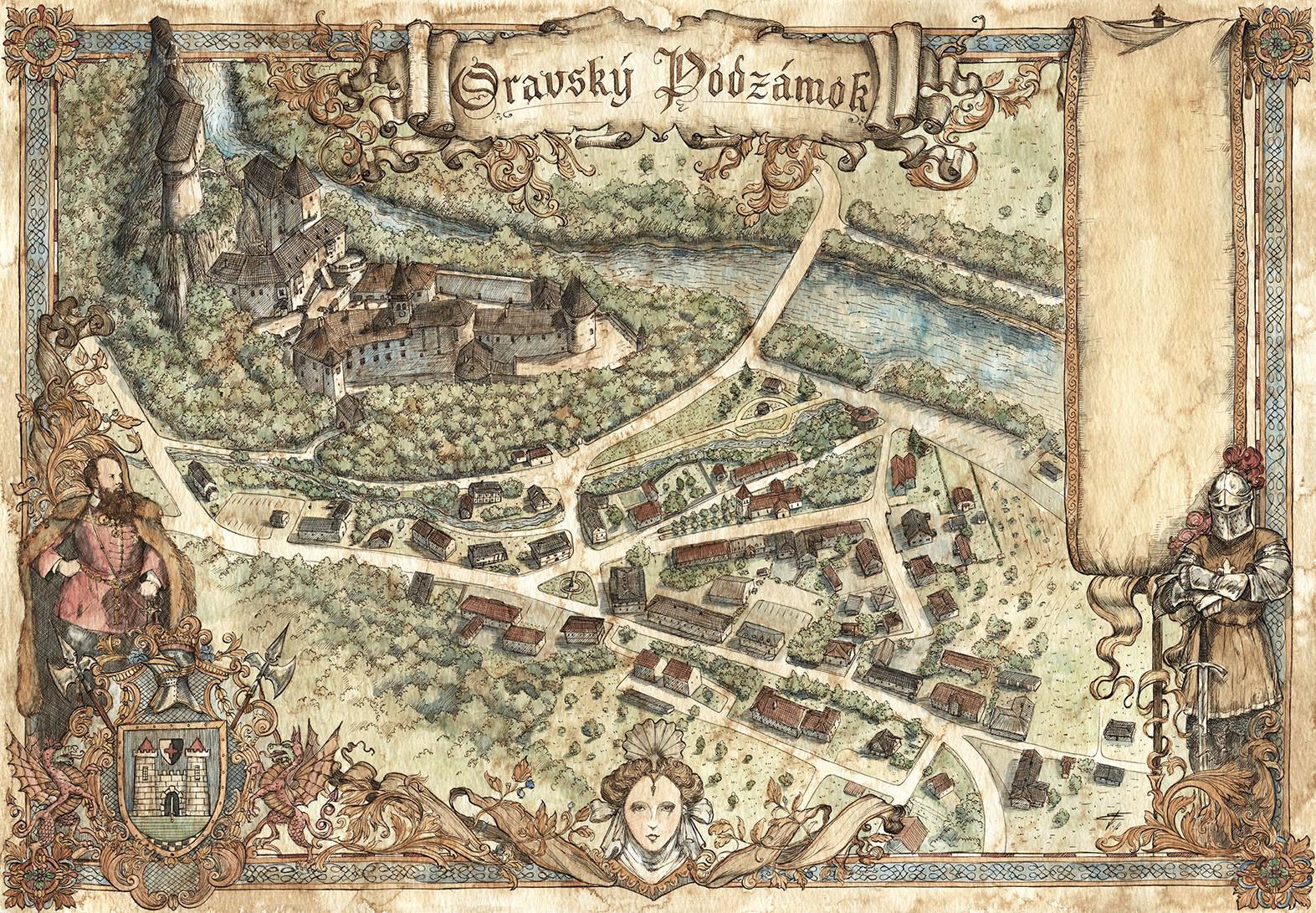 Oravský Podzámok town and castle map.