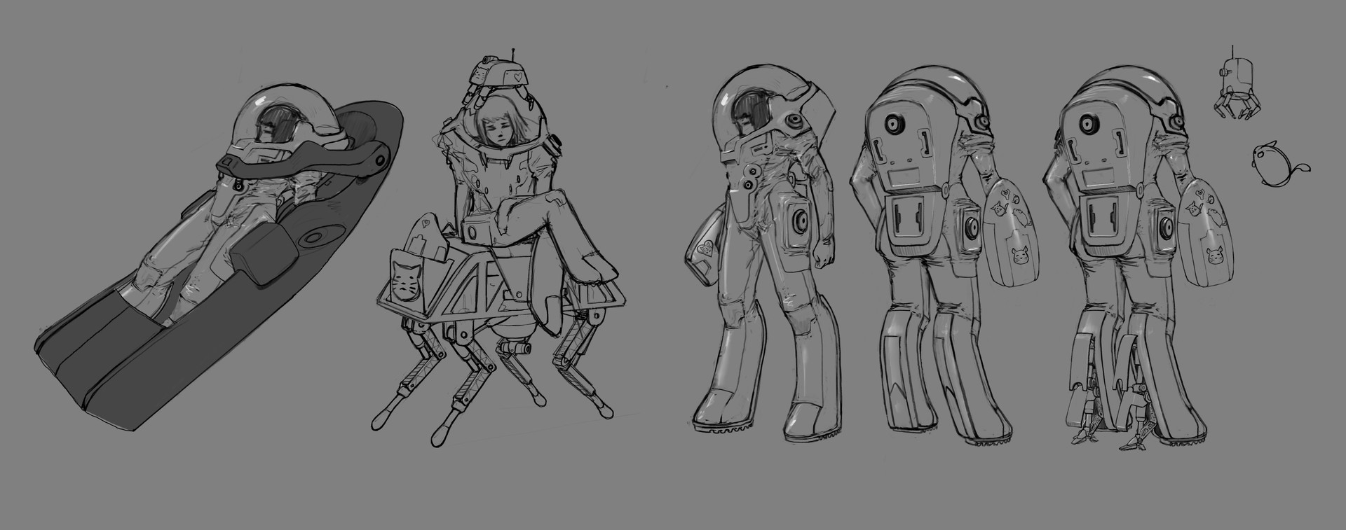 Left to right: Cryosleep bed, robot pets, suit 3/4s, leg stabilizers/locks, chinchilla