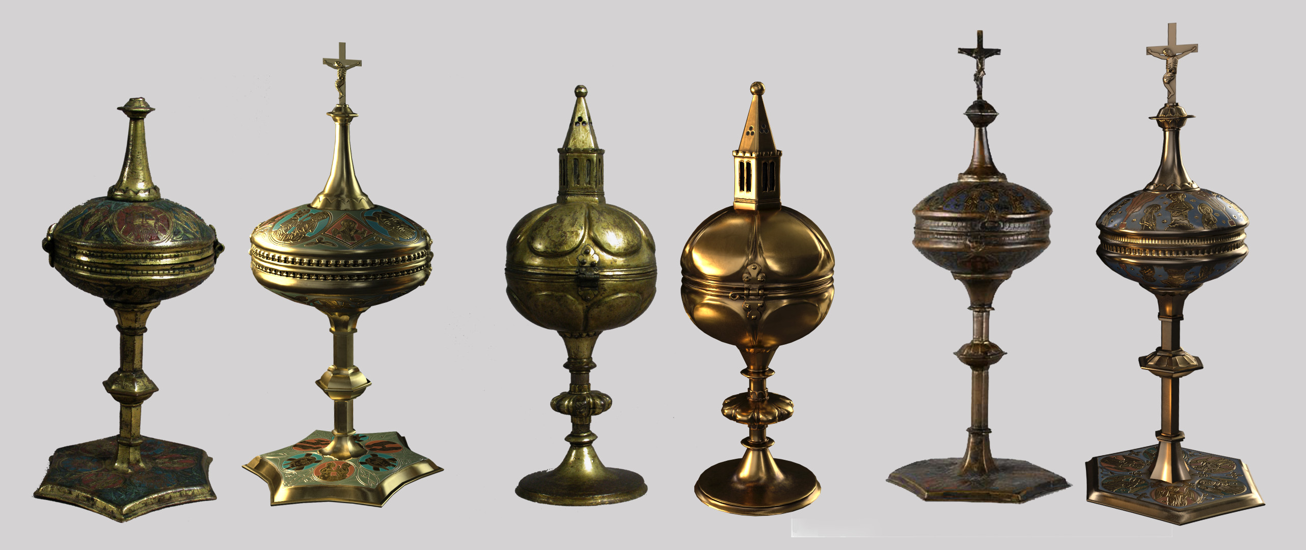 Each ciborium with the original reference photo. In certain cases, broken pieces had to be replaced, along with chipped or missing enamel plates. Missing or deteriorated items were rebuilt based on examples of similar artifacts.