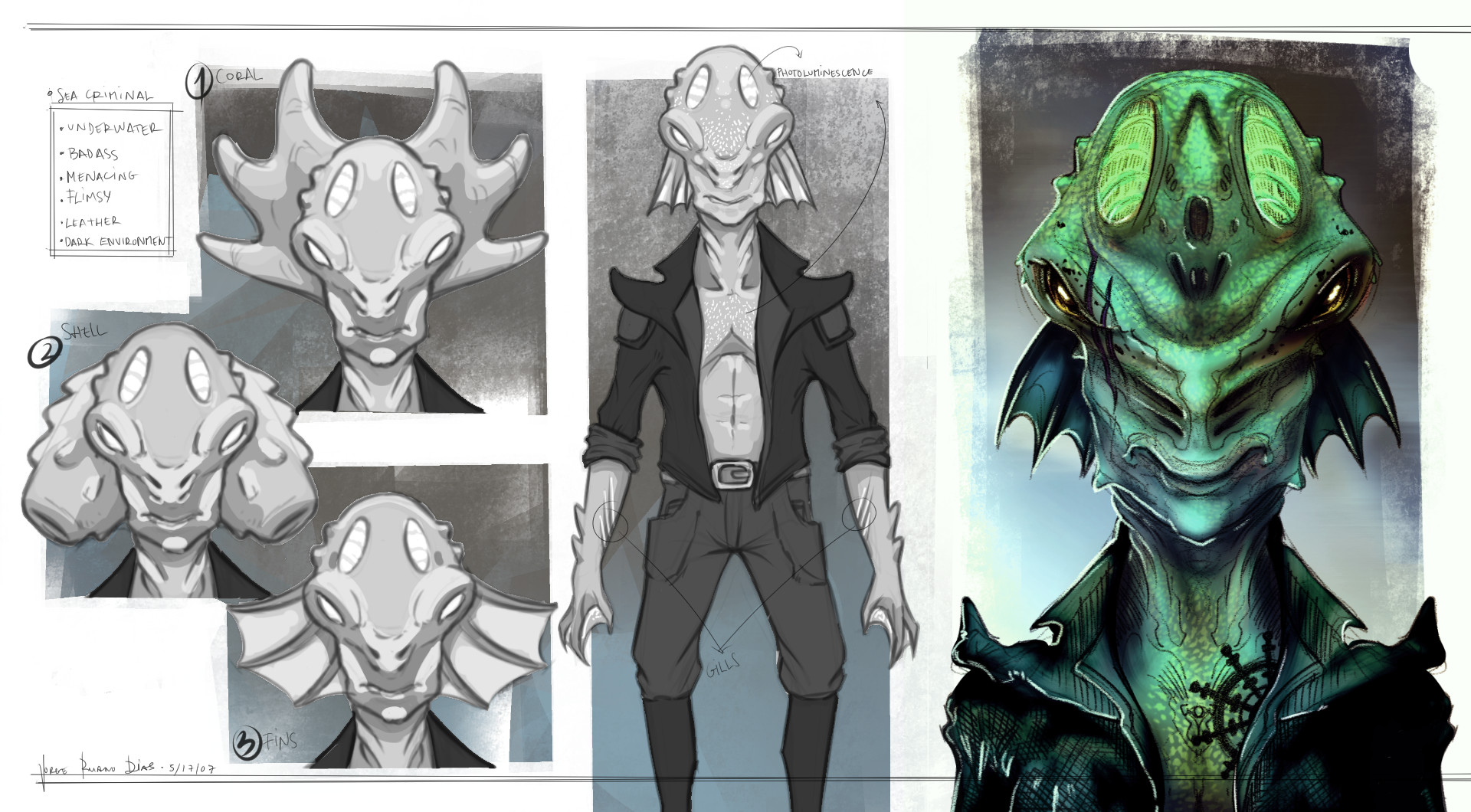 Character concept - Sea Criminal 3 Head variations Overall character & colored head shot