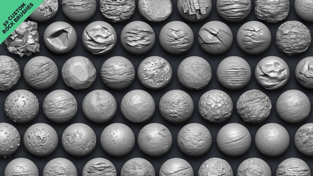 50 Custom brushes to sculpt rocks