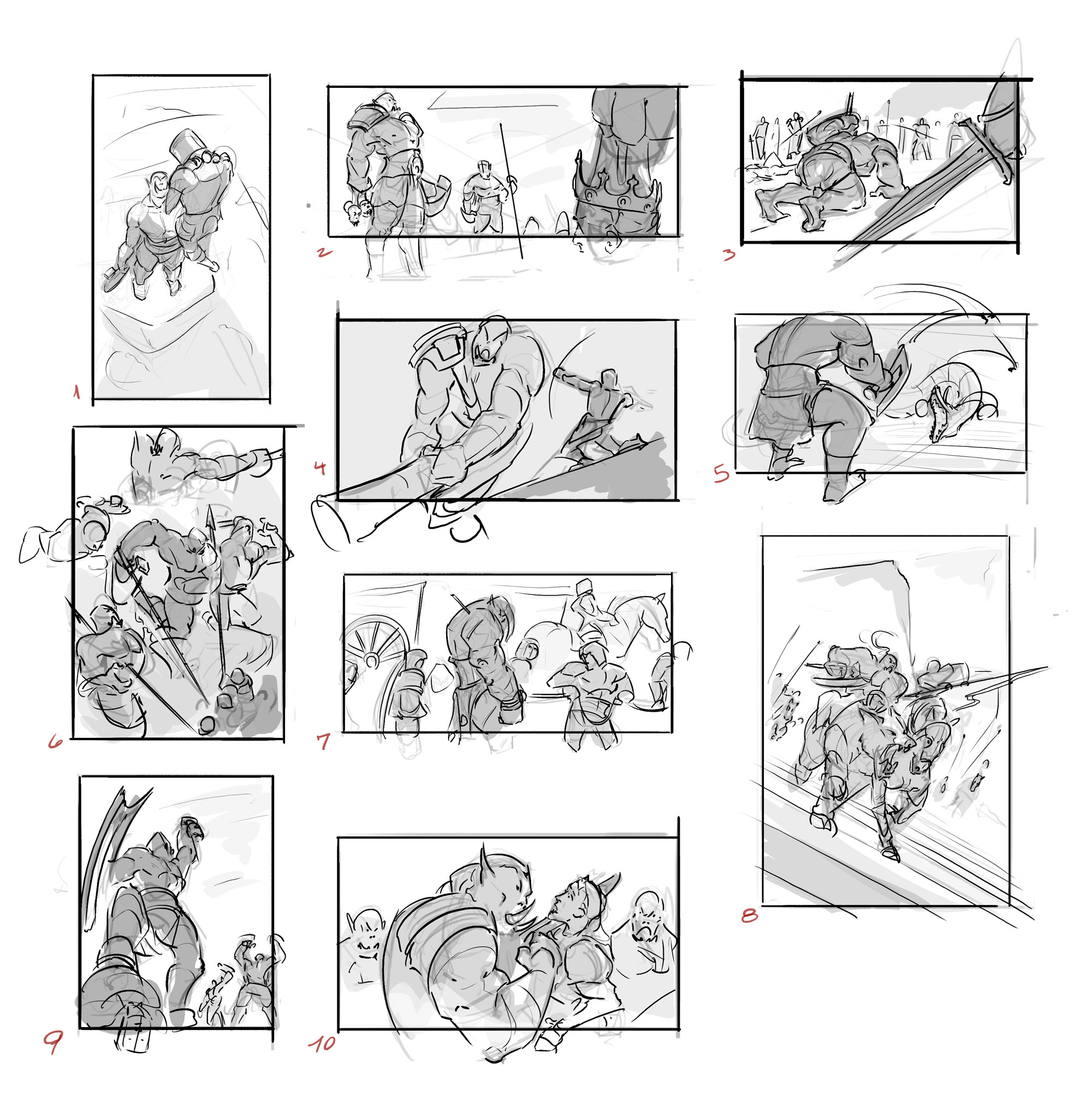 Some early thumbnails, exploring the composition and way to tell the idea