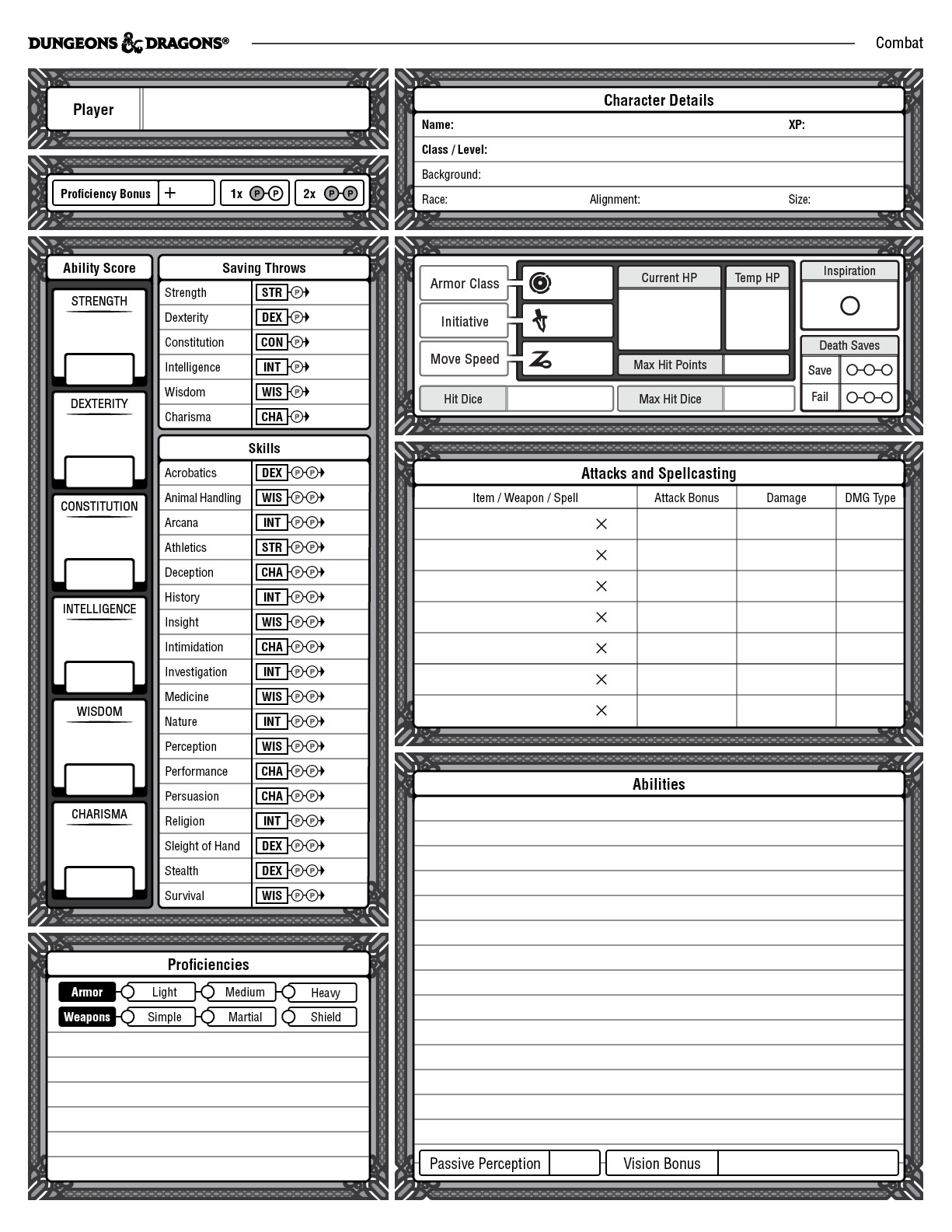 picture regarding Printable Dungeons and Dragons Character Sheet named ArtStation - Individuality Sheet for DD 5th Variation, William Lu