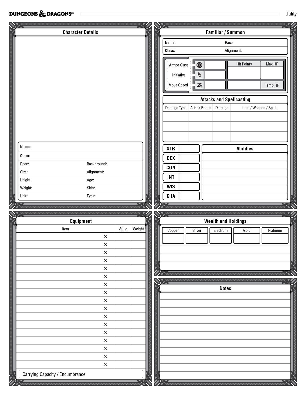 image about Dnd 5e Printable Character Sheet identify ArtStation - Identity Sheet for DD 5th Variation, William Lu