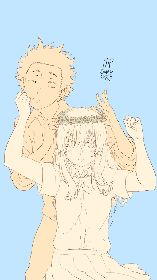 I thought Nishimiya's face needs improvement so I had to change it a couple of times.