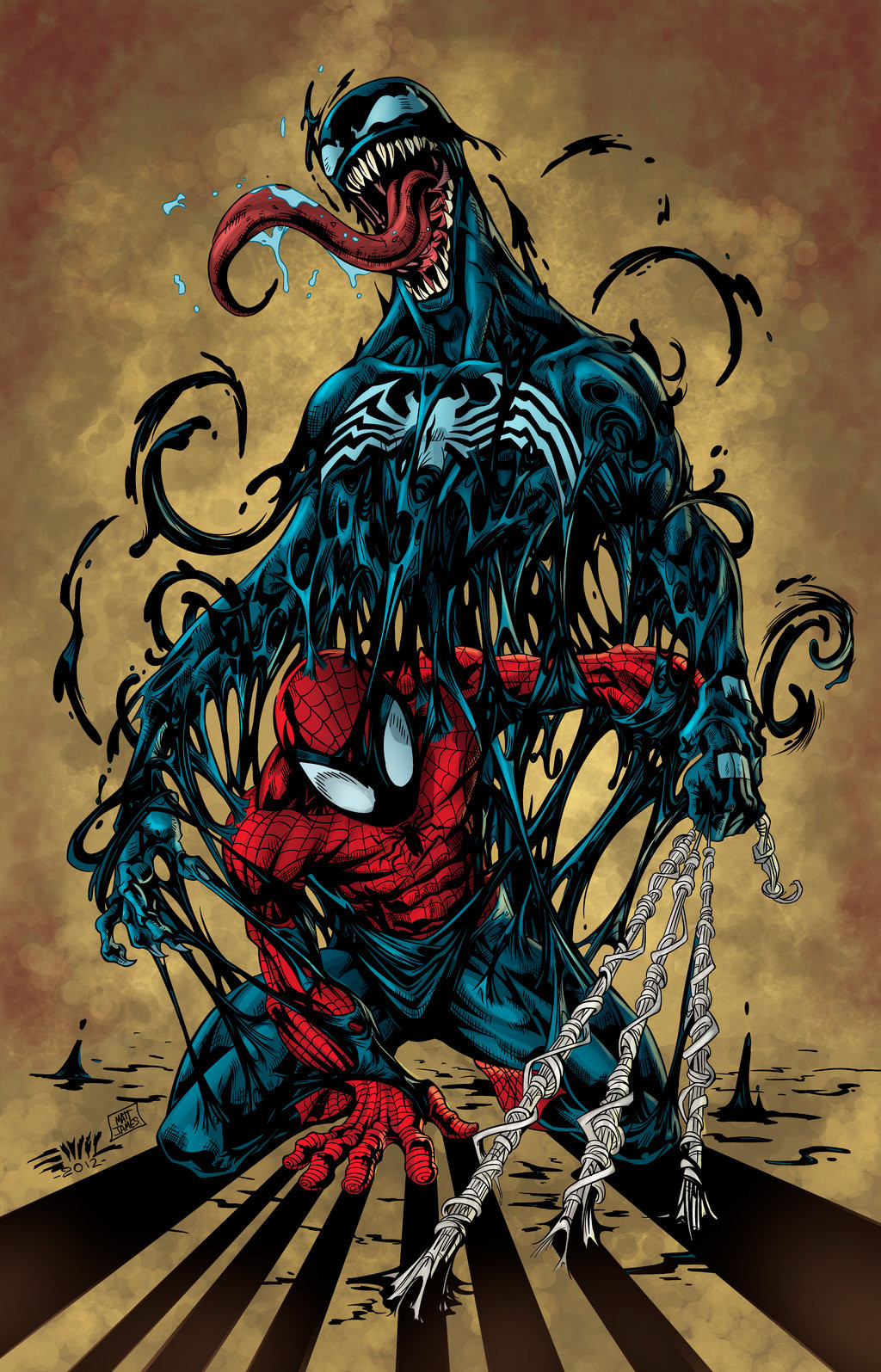 Matt james spiderman vs venom by snakebitartstudio db9wshs