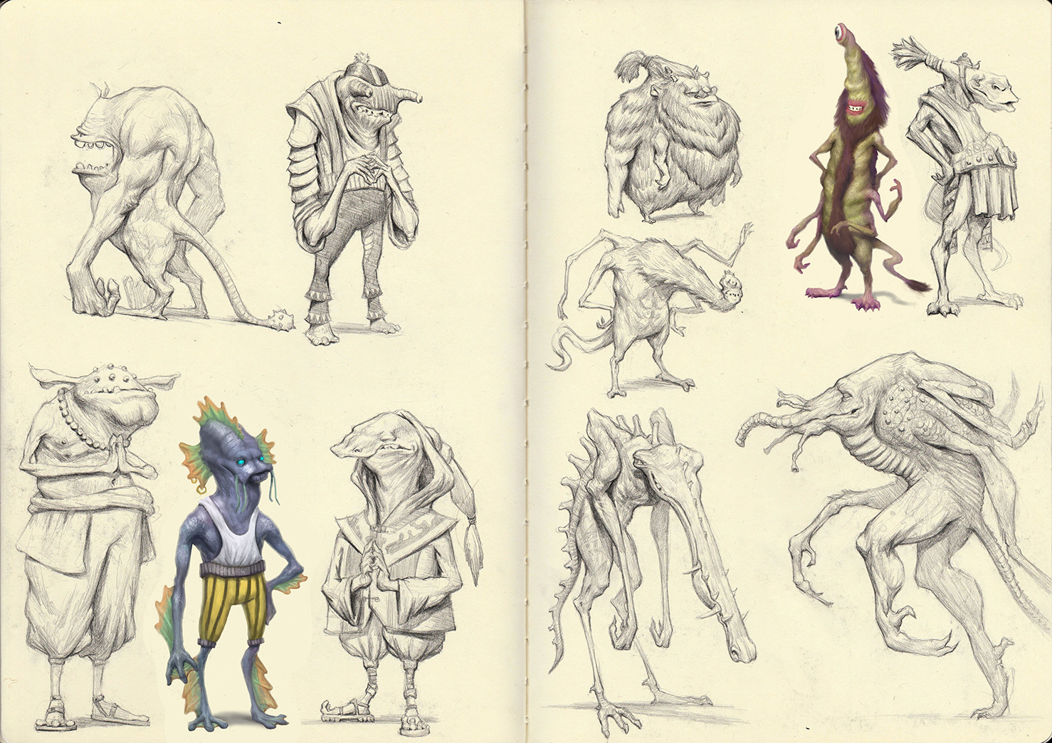 Creature SKetchbook pg 13-14