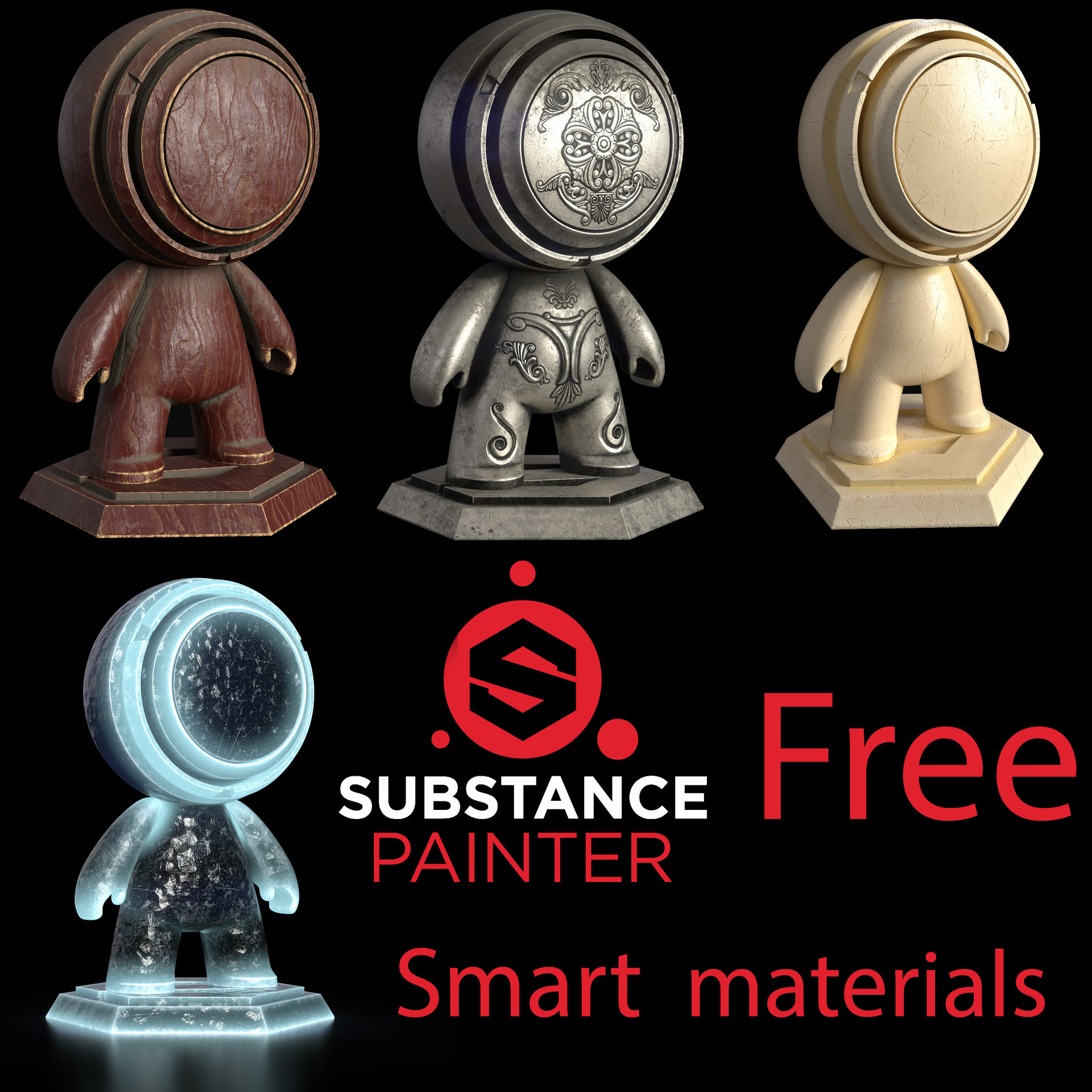 free smart materials for substance painter