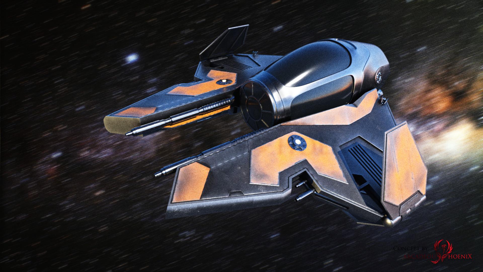 Arcadeous phoenix jedi interceptor stylized