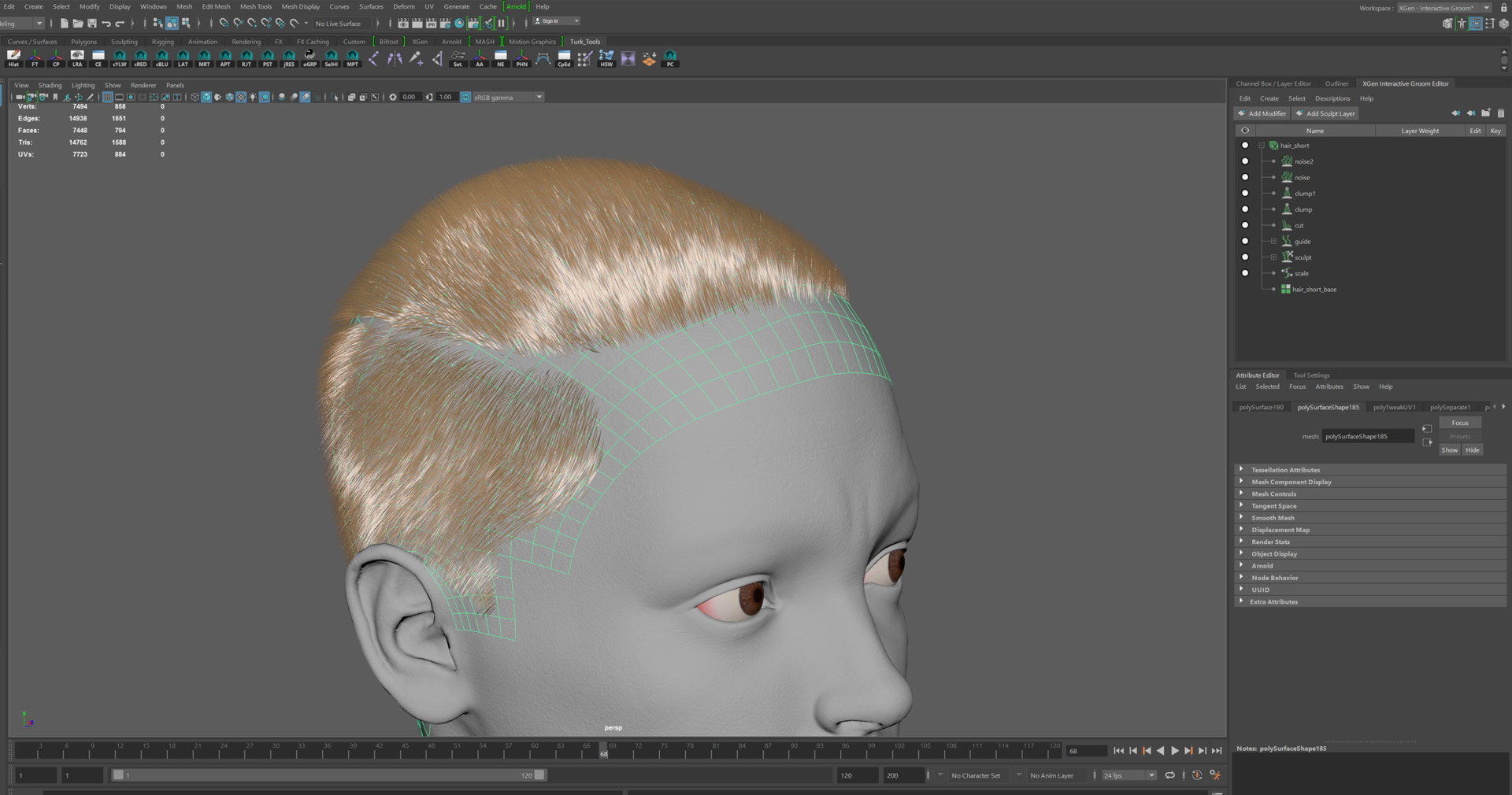 The Hair Cap Is Created By Selecting A Section Of The Head Geo, Duplicating  And Growing The Hair Using Xgen Interactive Groom Editor