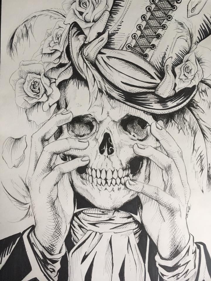 Картинки страшных черепов карандашом