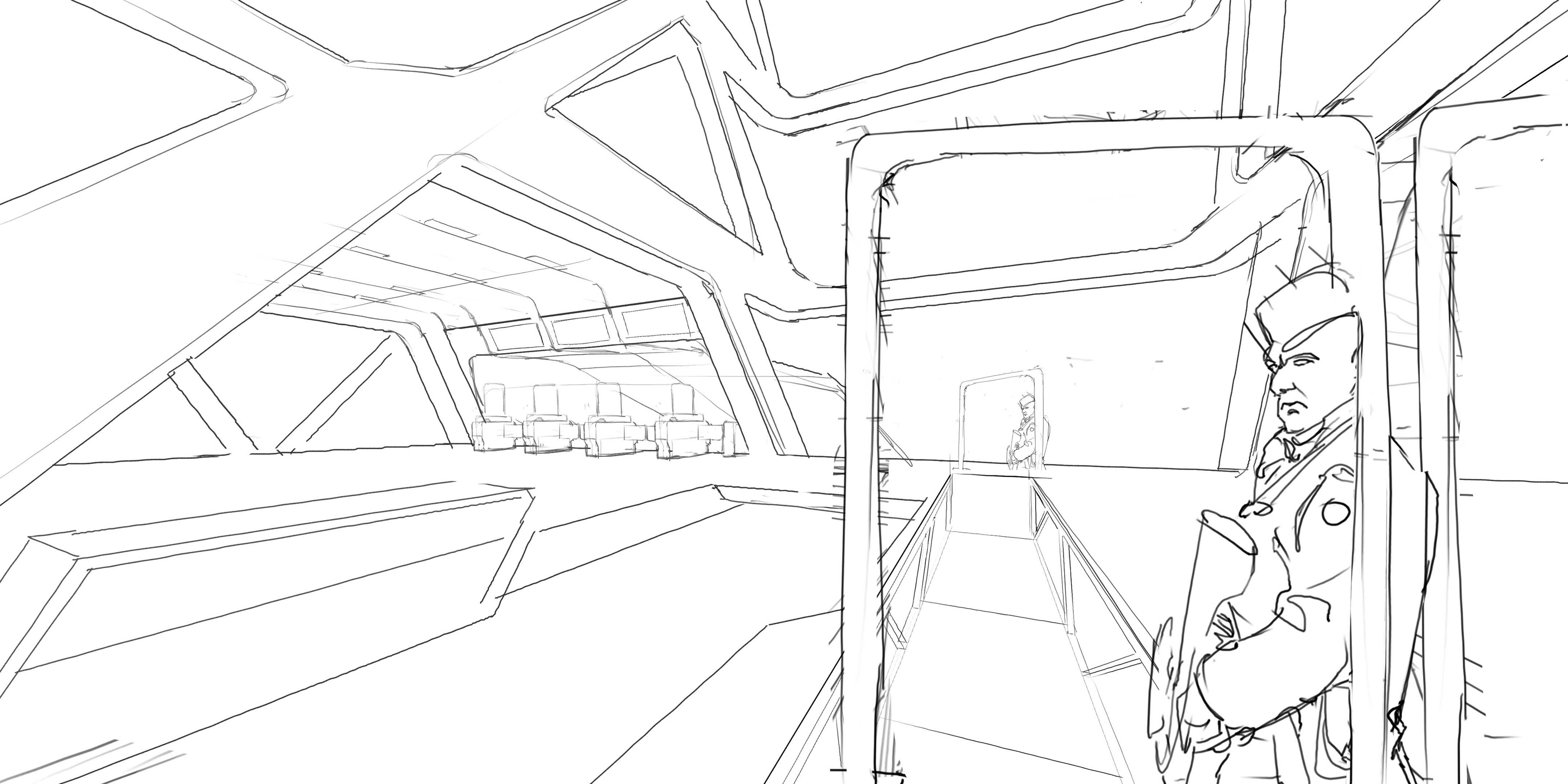 Starting sketch on 1 point perspective.