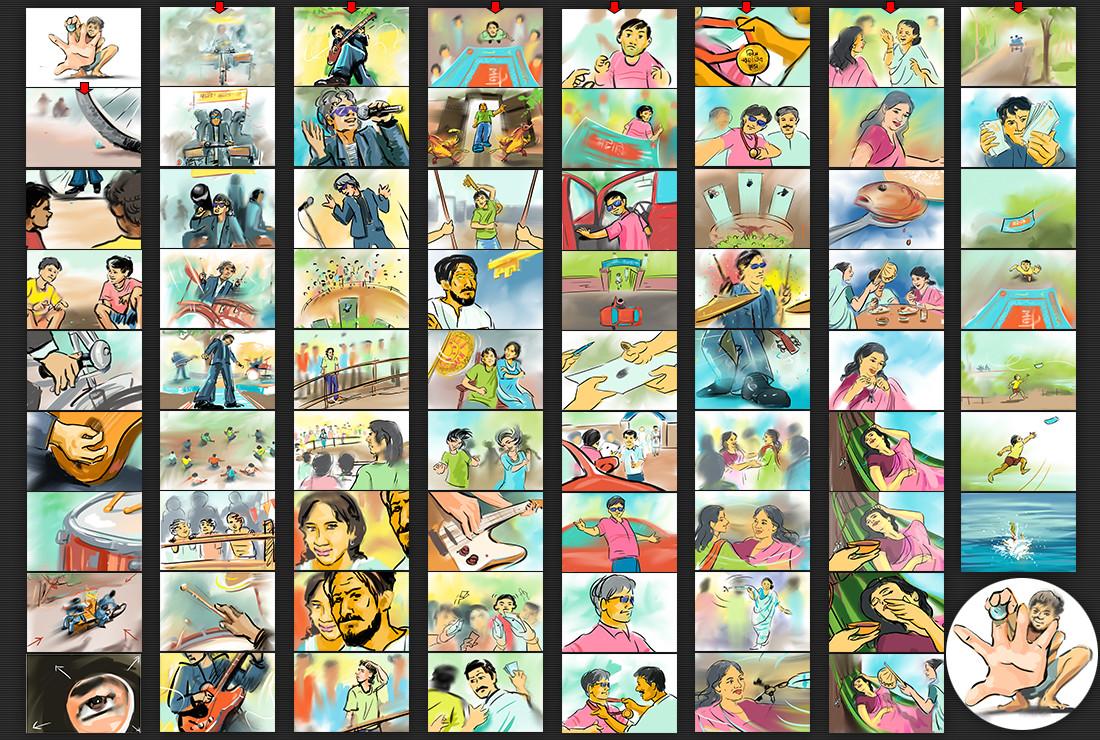 Storyboard sketch for AV, Commissioned by Mushfiqur Rahman Pavel (Bitopi Advertising Ltd)