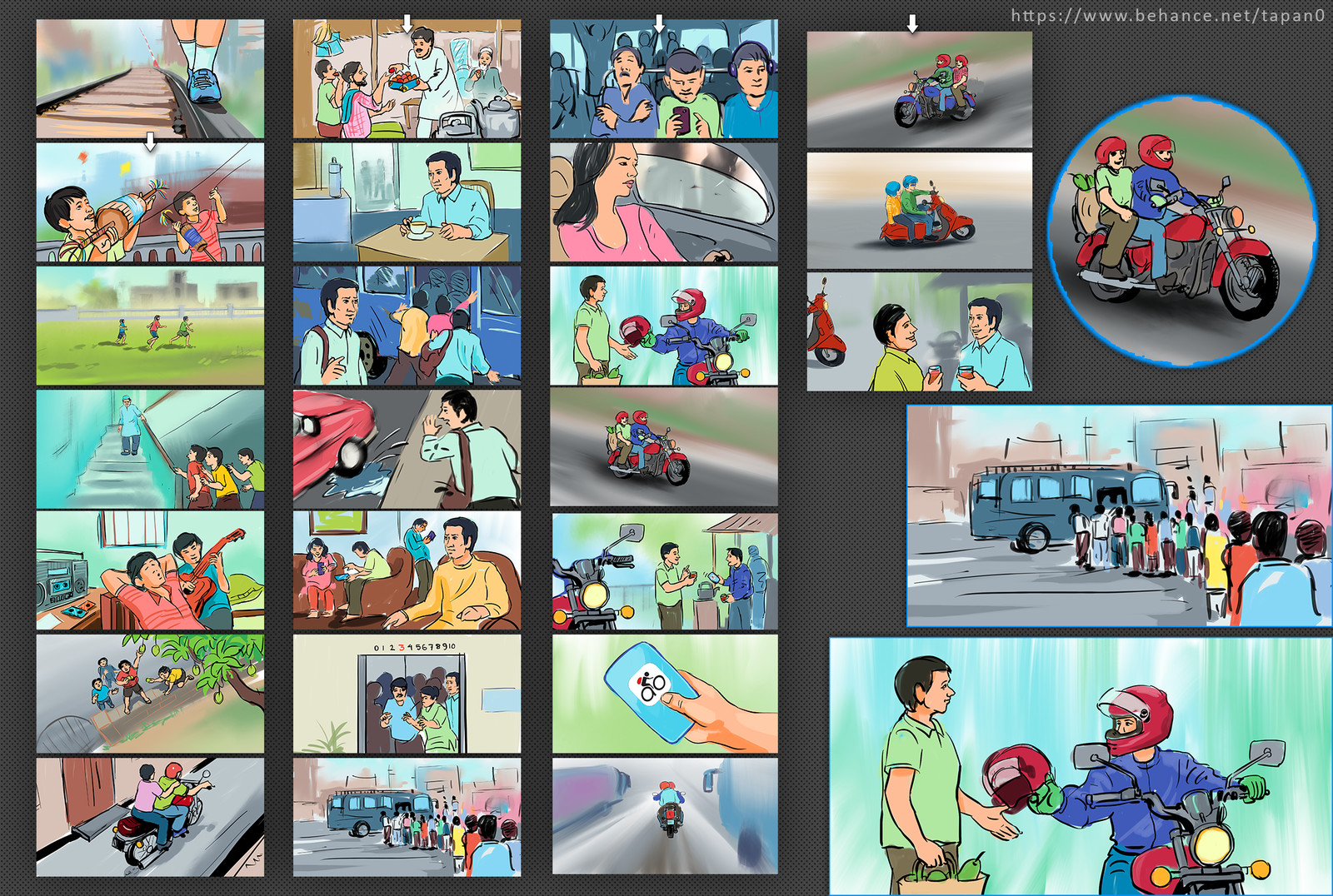 Storyboard sketch for web commercial, Commissioned by film maker Mahathir Spondon