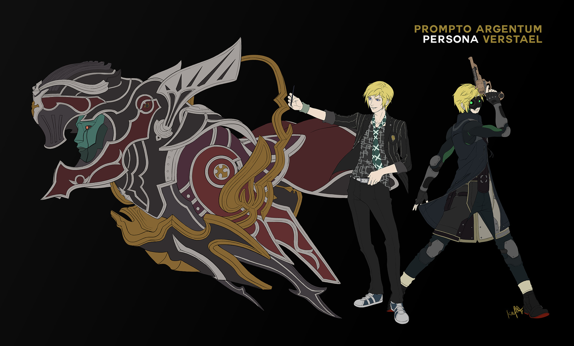 kevin patag final fantasy xv x persona 5 crossover character designs