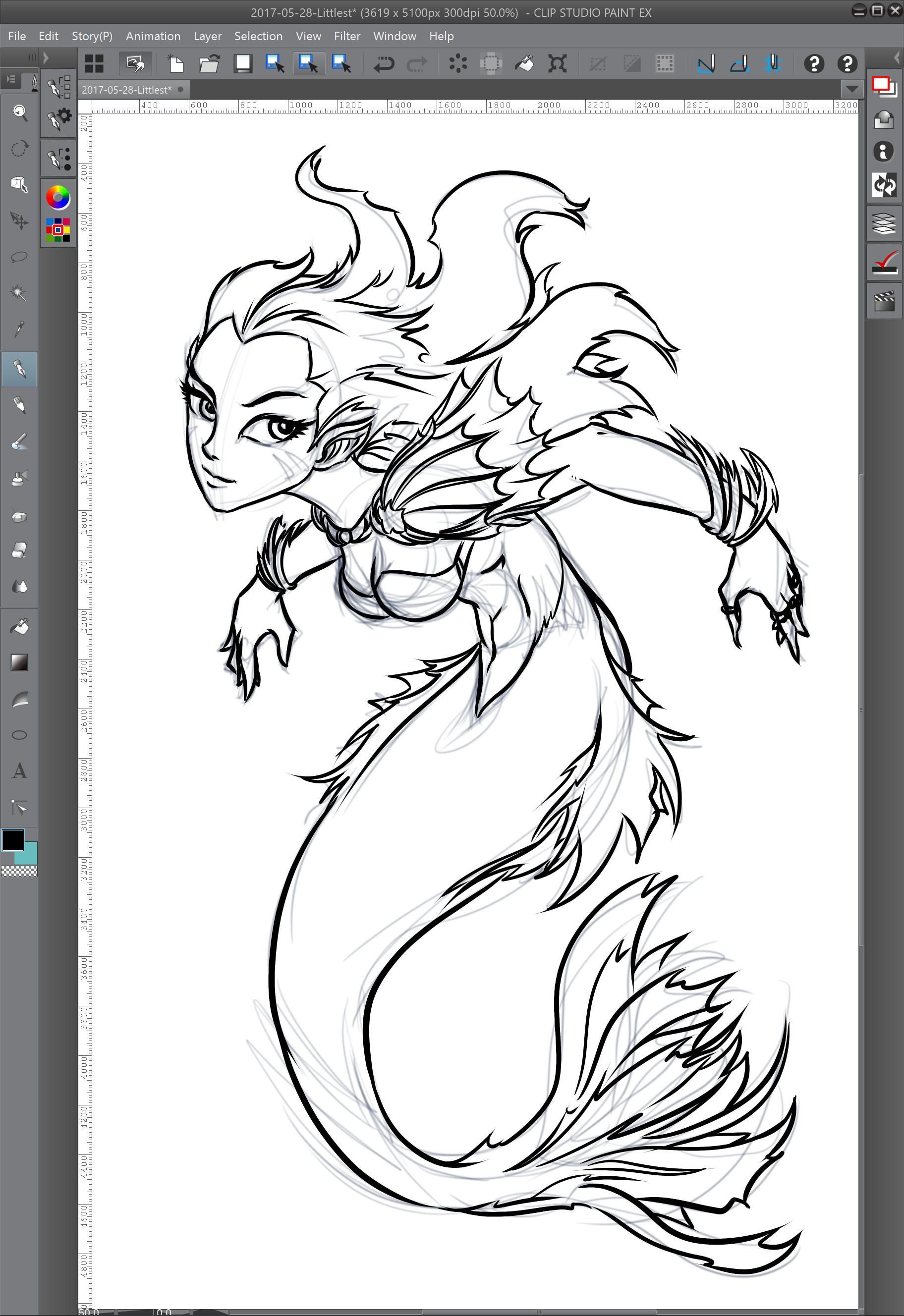 03 - Inking over the rough lines