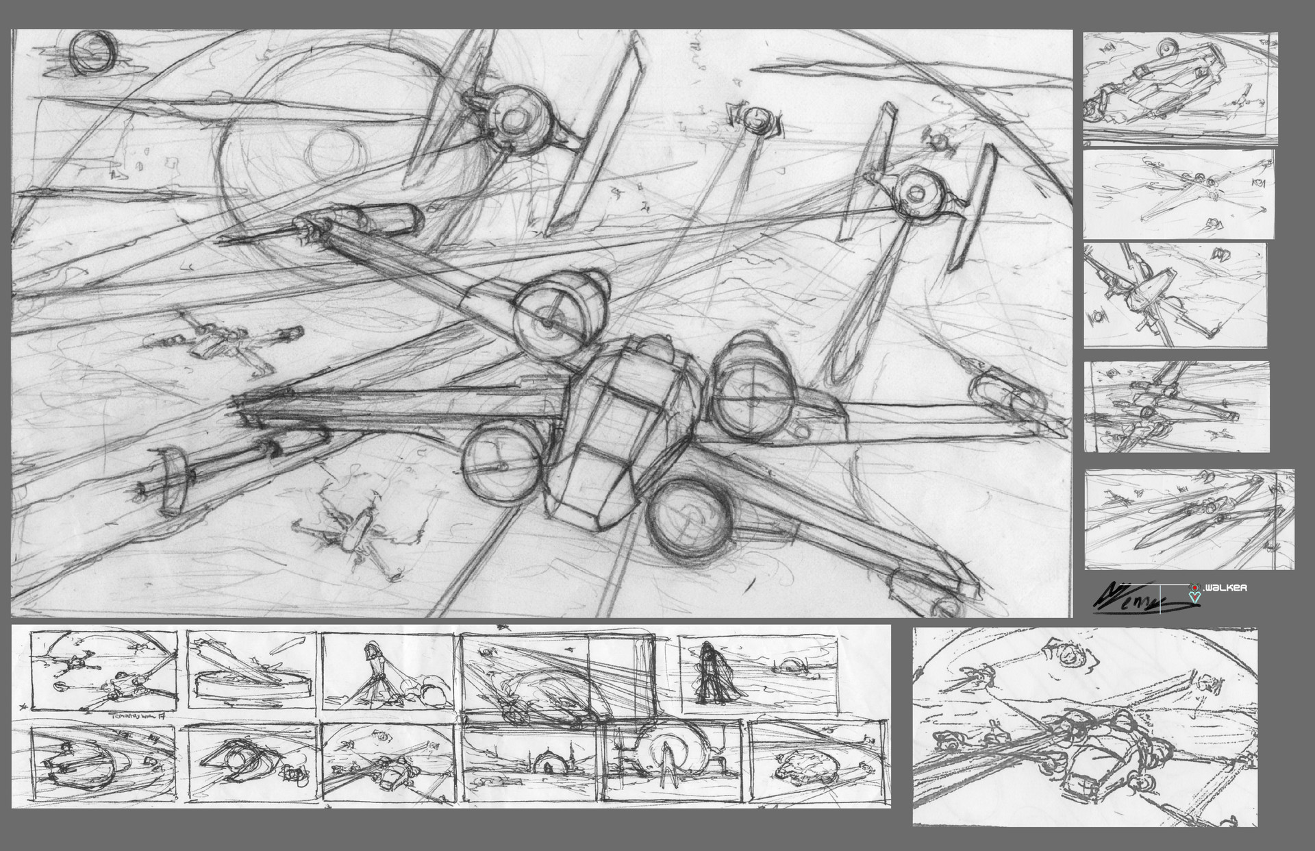 Temarius walker star wars key frame process x wing 01