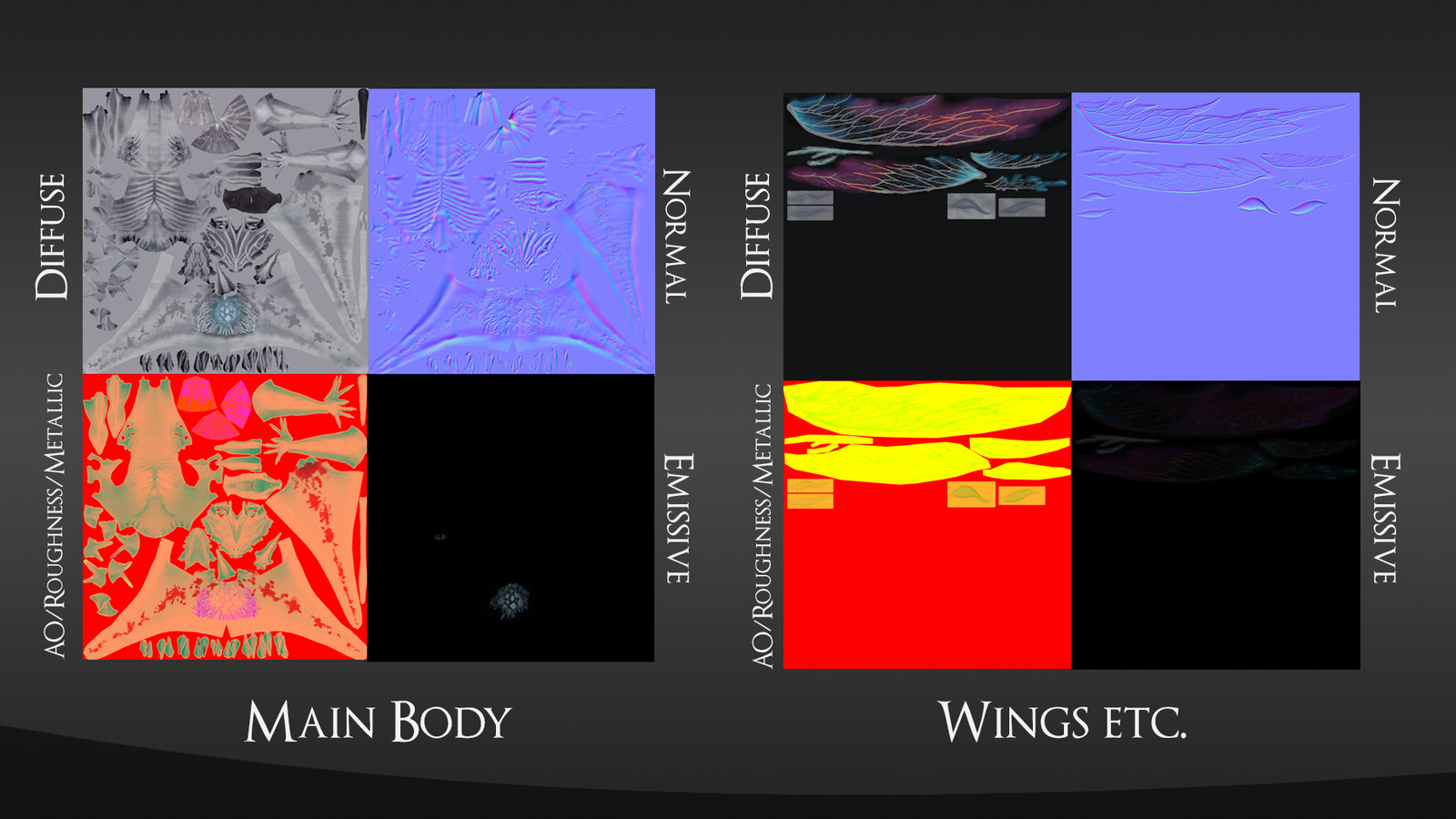 Textures used in the in-engine shaders. All used are at a 2048x2048 resolution for portfolio sake.