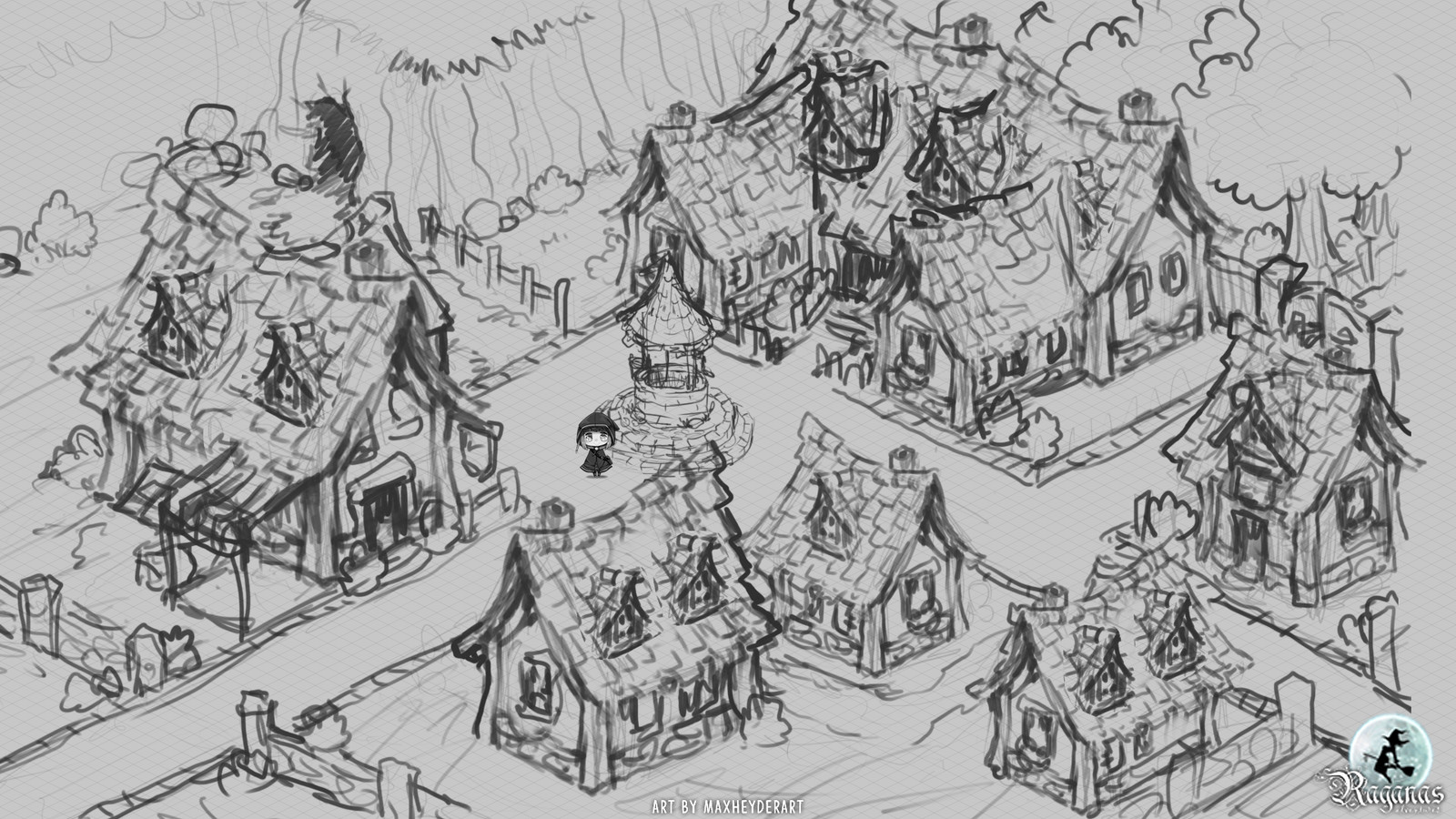 First sketch for the village.