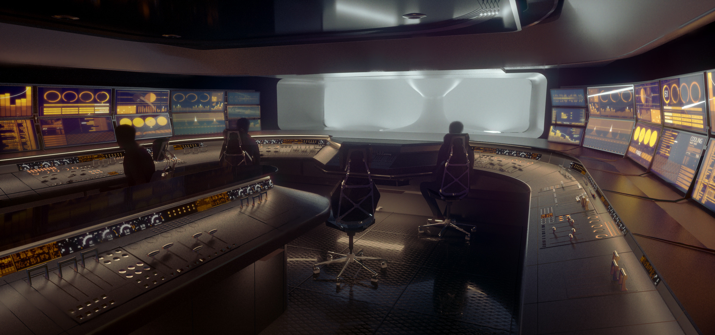 Control room, establishing shot